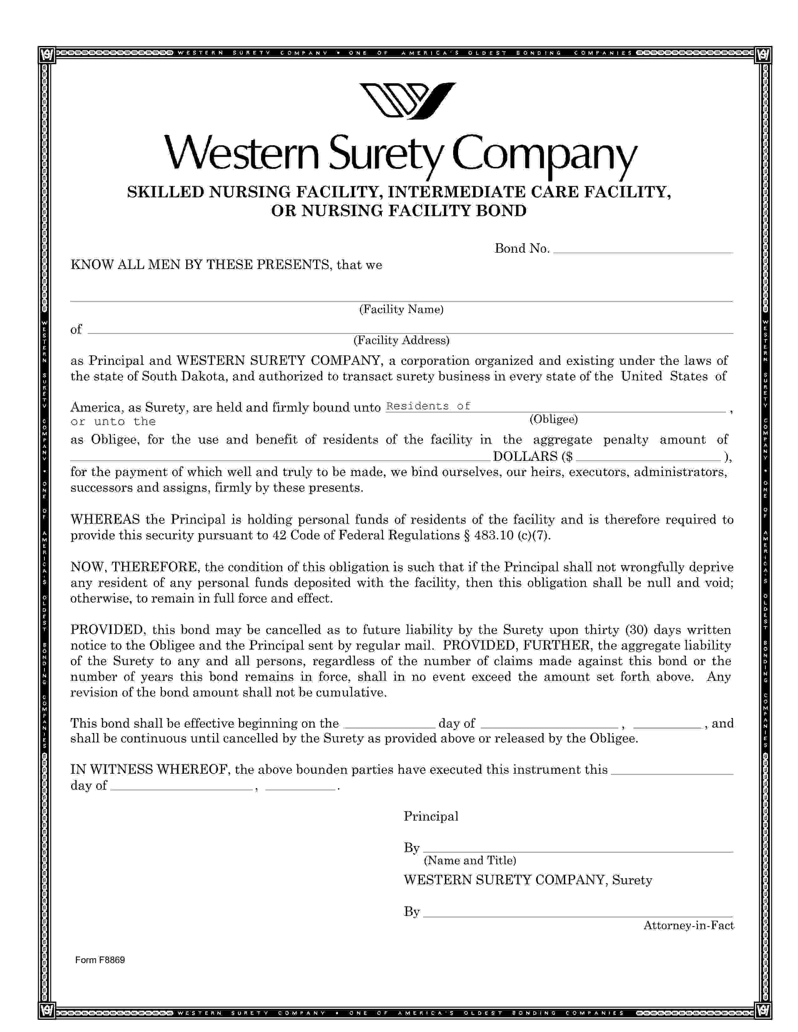 Nursing Facility Resident Trust Fund Bond sample image