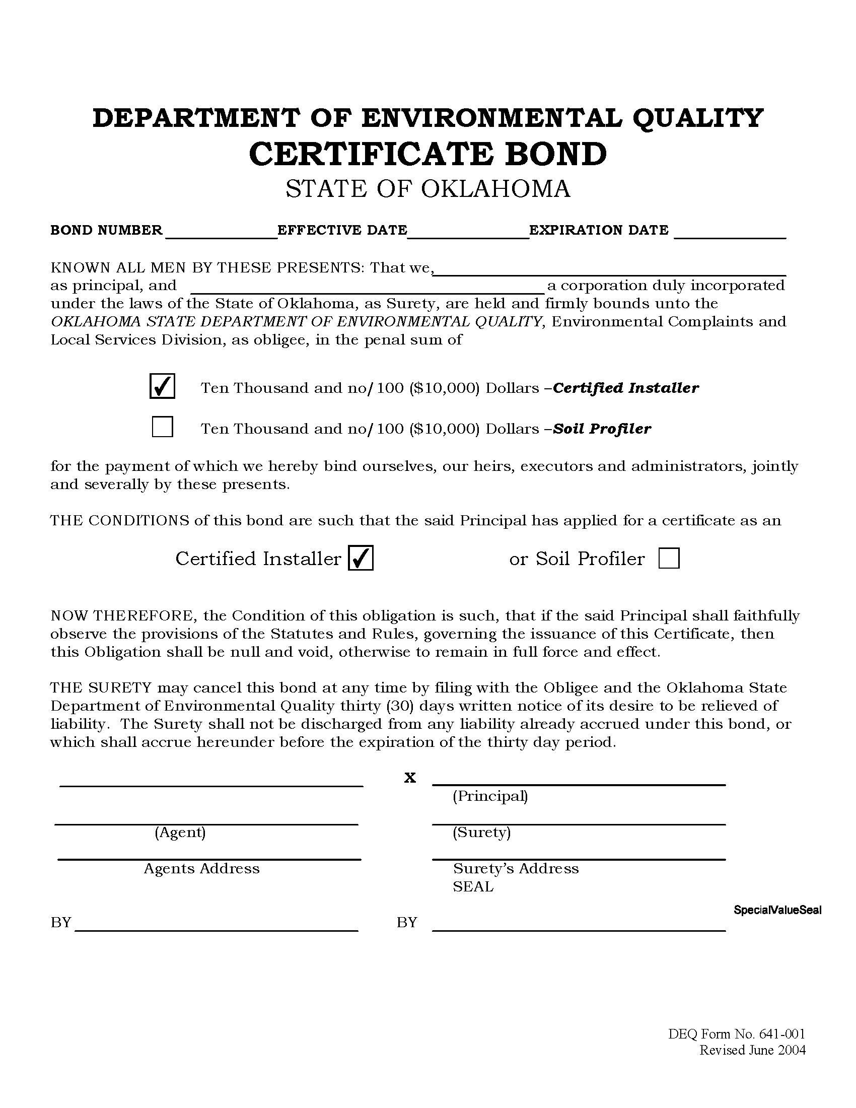DEQ Certified Installer Certificate sample image