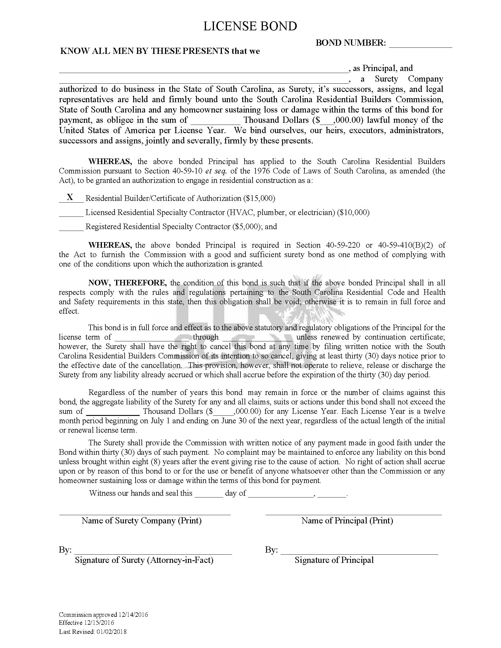 State of South Carolina Residential Builder/Certificate of Authorization sample image