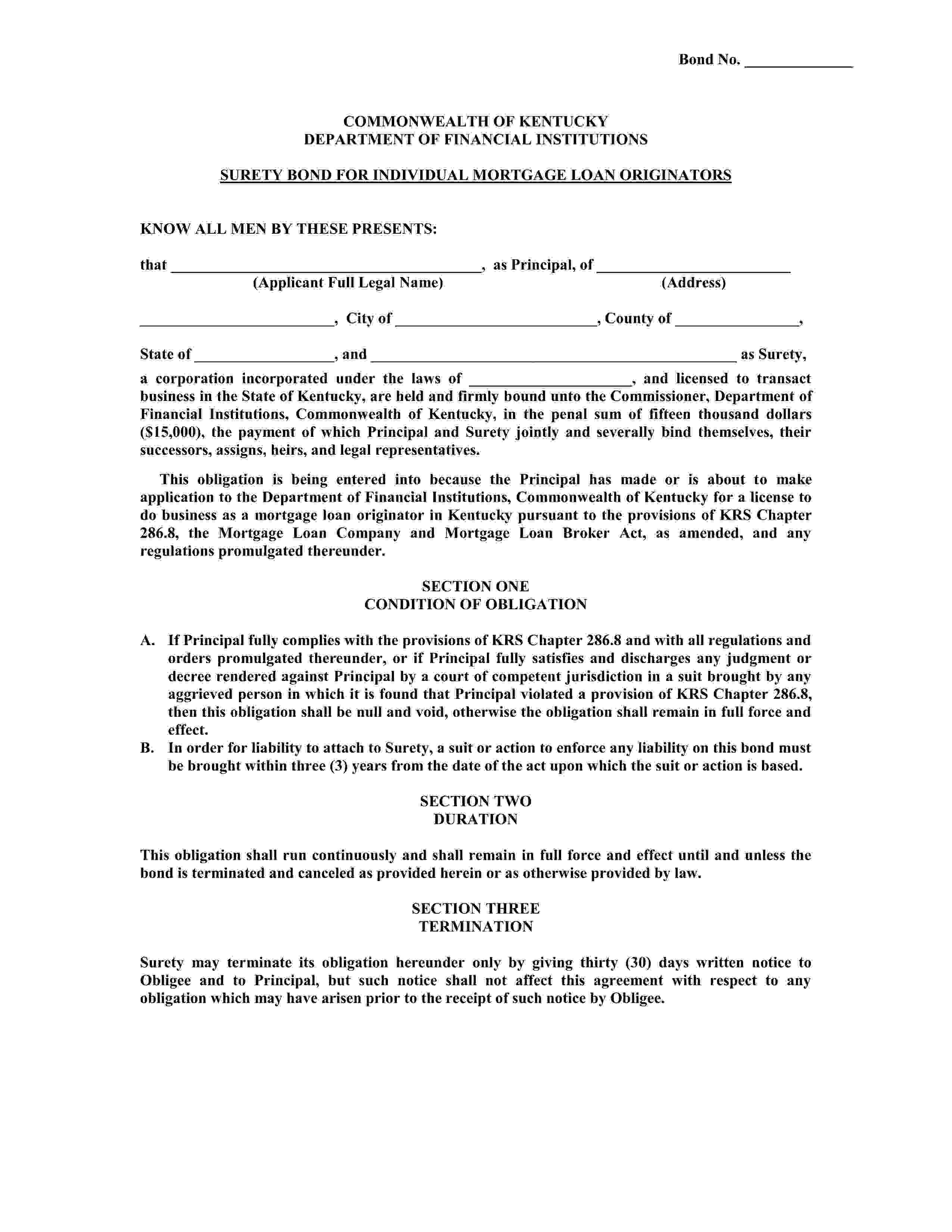 Commonwealth of Kentucky Mortgage Loan Originator sample image