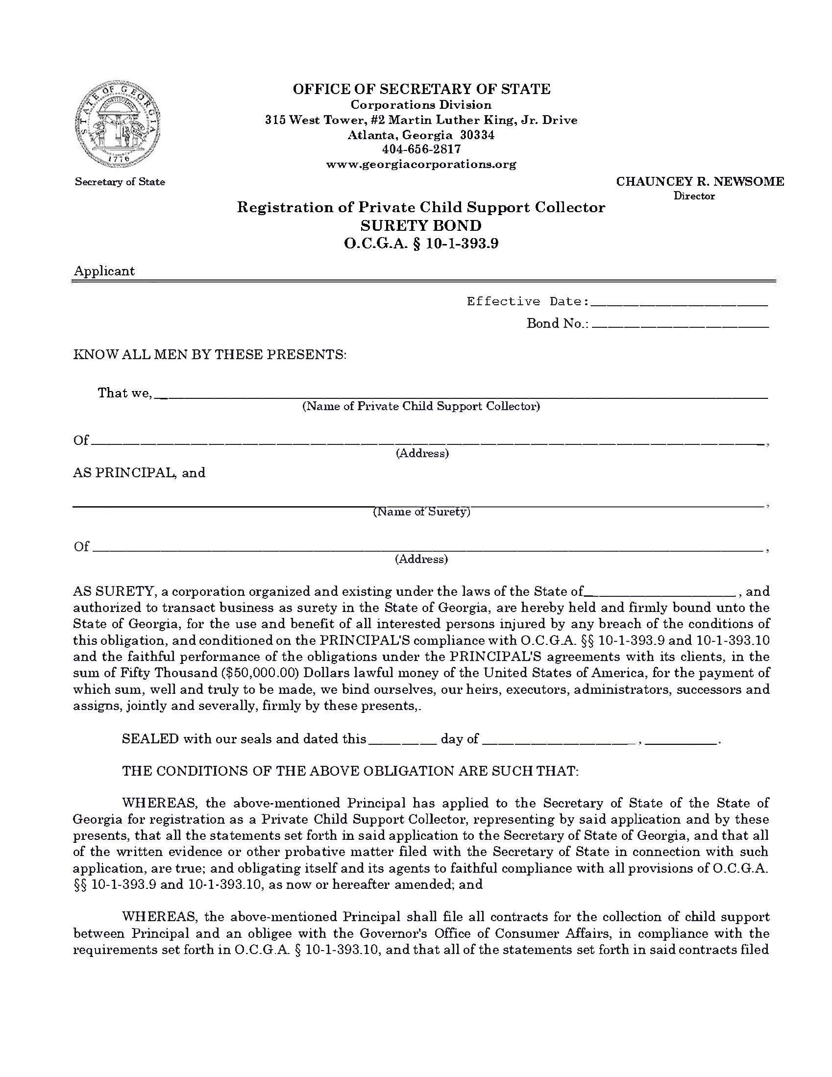 Office of Secretary of State Private Child Support Collector sample image