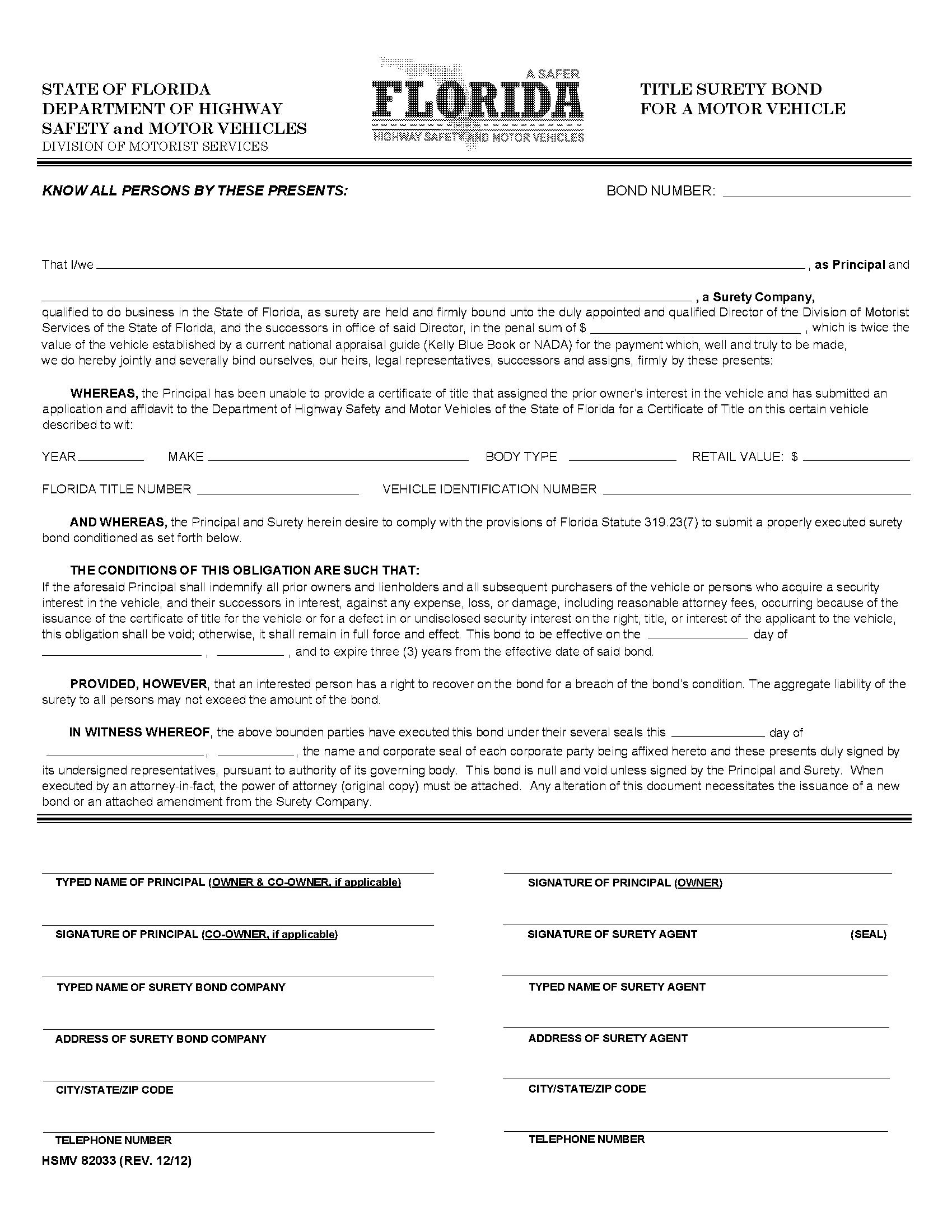 State of Florida Motor Vehicle Certificate of Title sample image