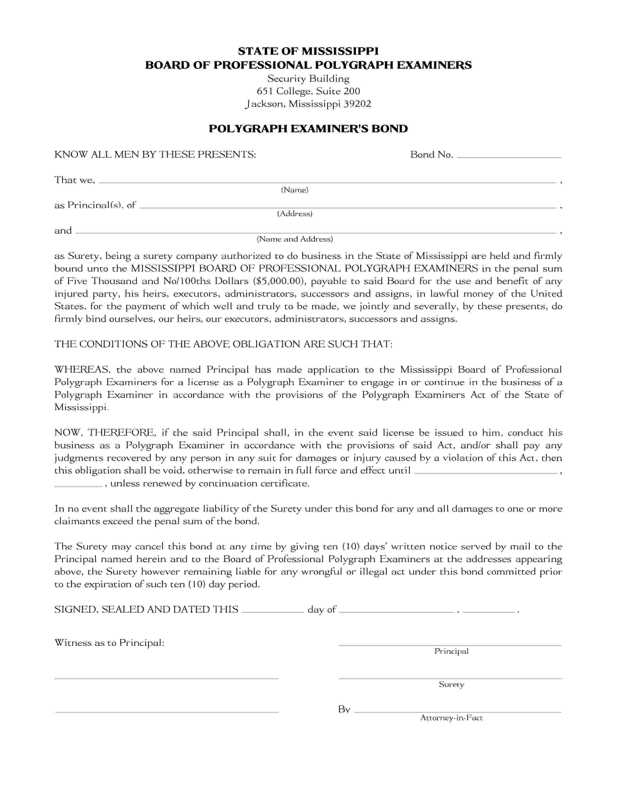 Mississippi Board of Professional Polygraph Examiners Polygraph Examiner Bond sample image