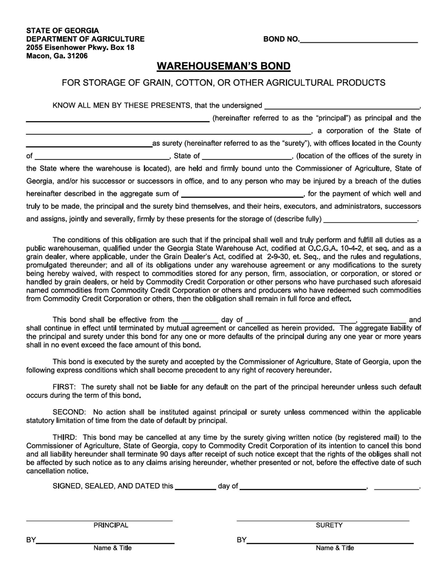 Georgia Commisioner of Agriculture Warehouseman Bond sample image