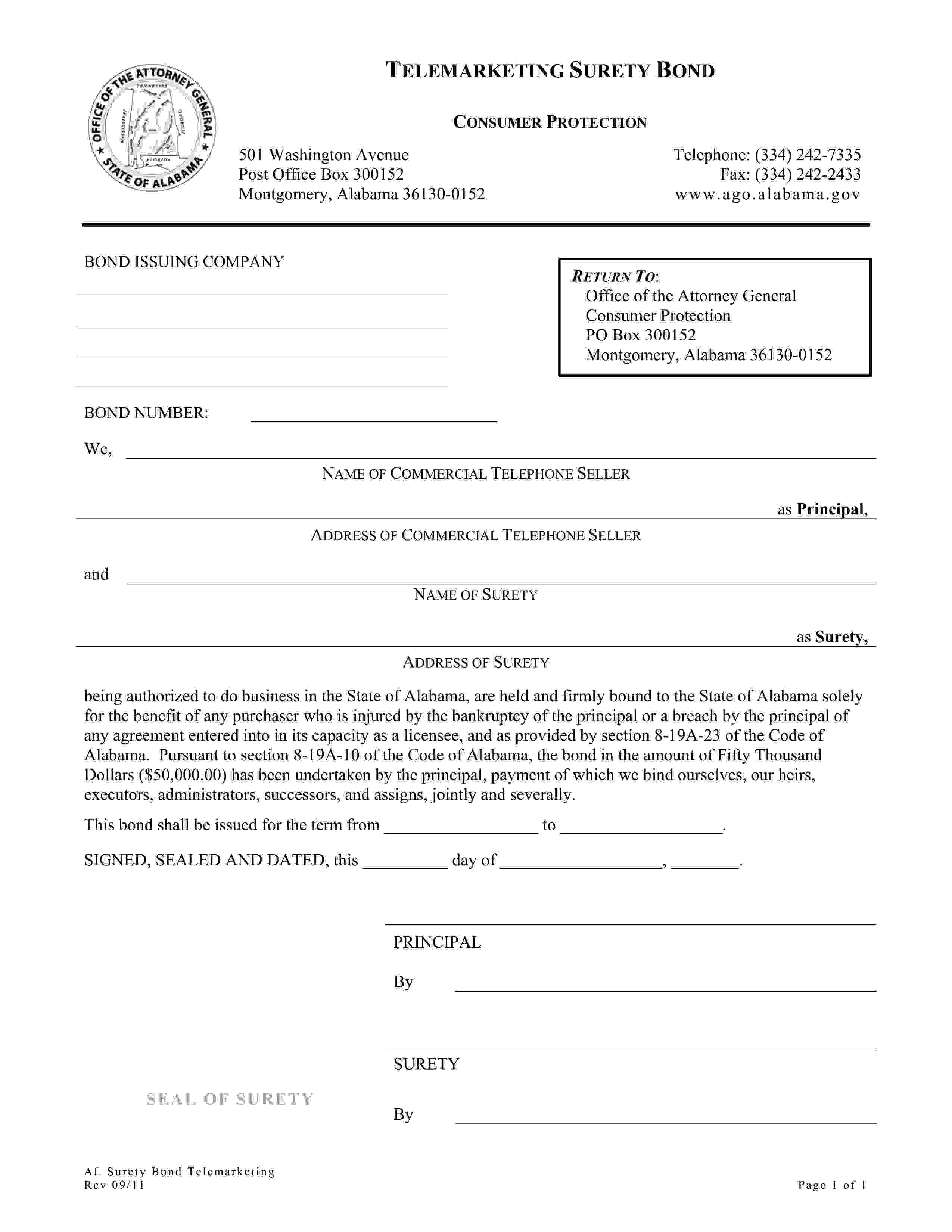 Alabama Office of the Attorney General Consumer Protection Telemarketing Bond sample image