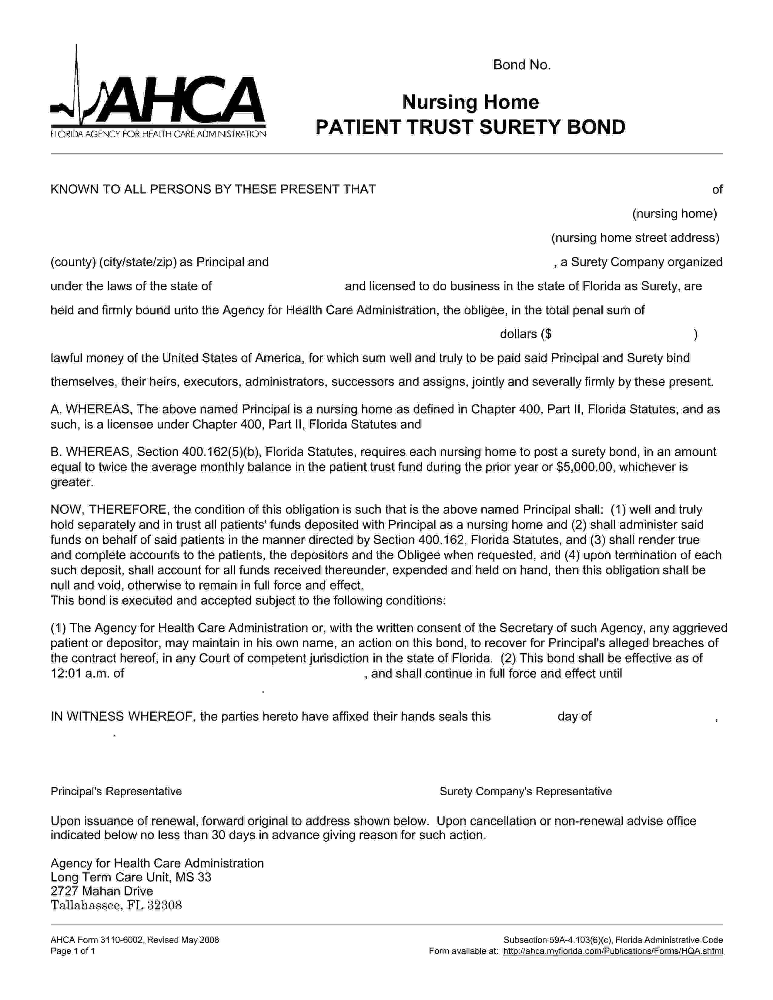 Florida Agency For Health Care Administration Nursing Home Patient Trust Bond sample image