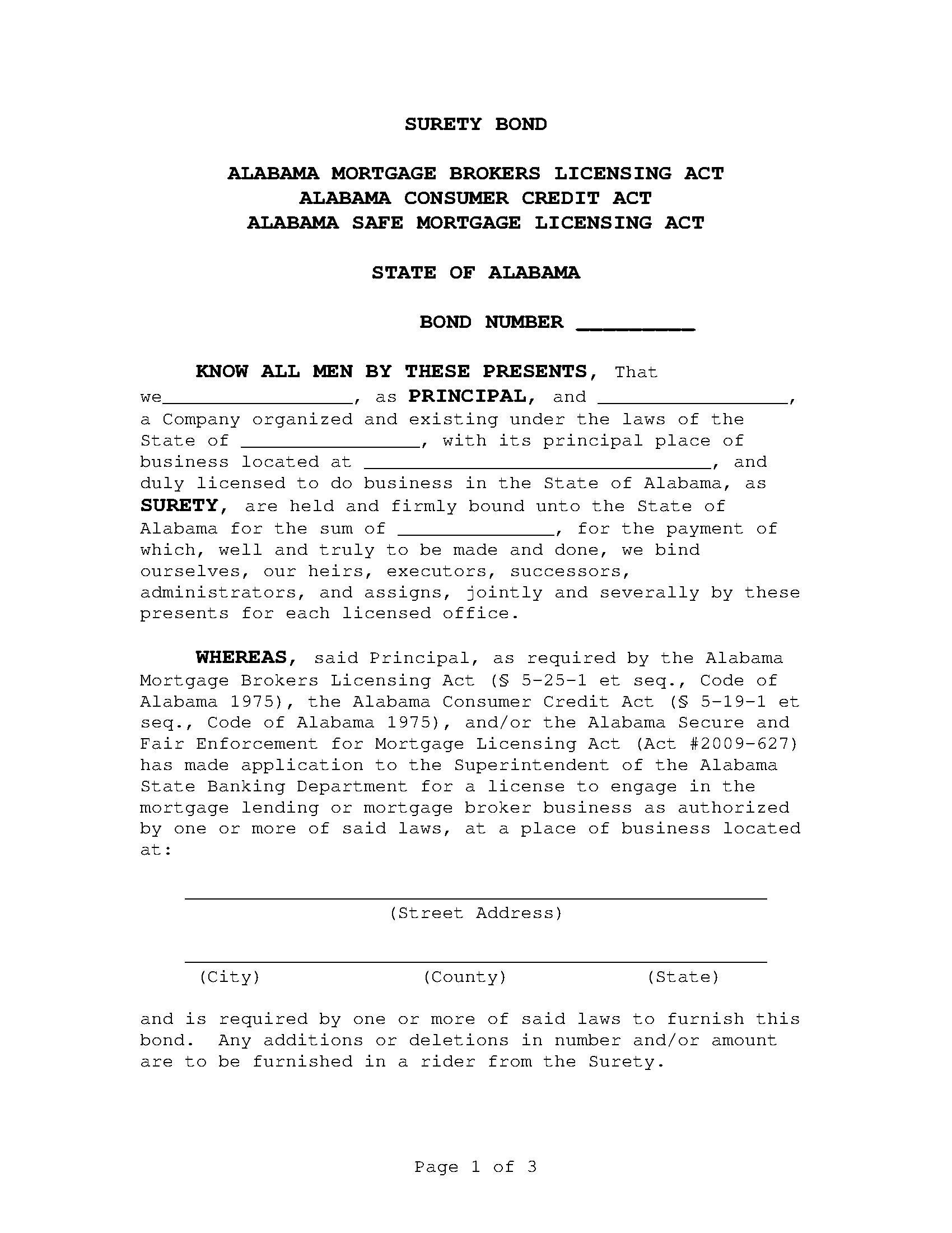 State of Alabama Mortgage Broker Bond sample image