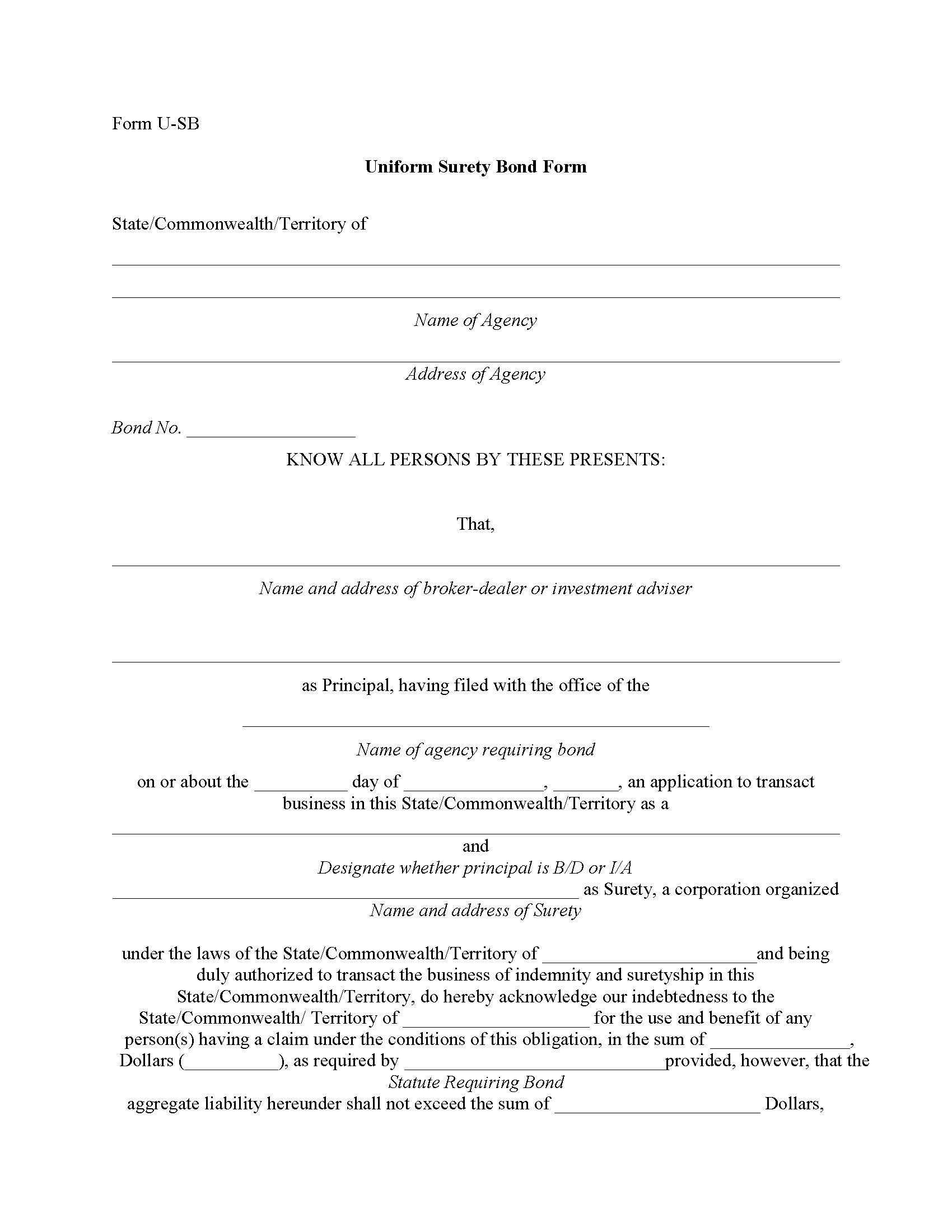Alabama Securities Commission Investment Advisor Bond sample image