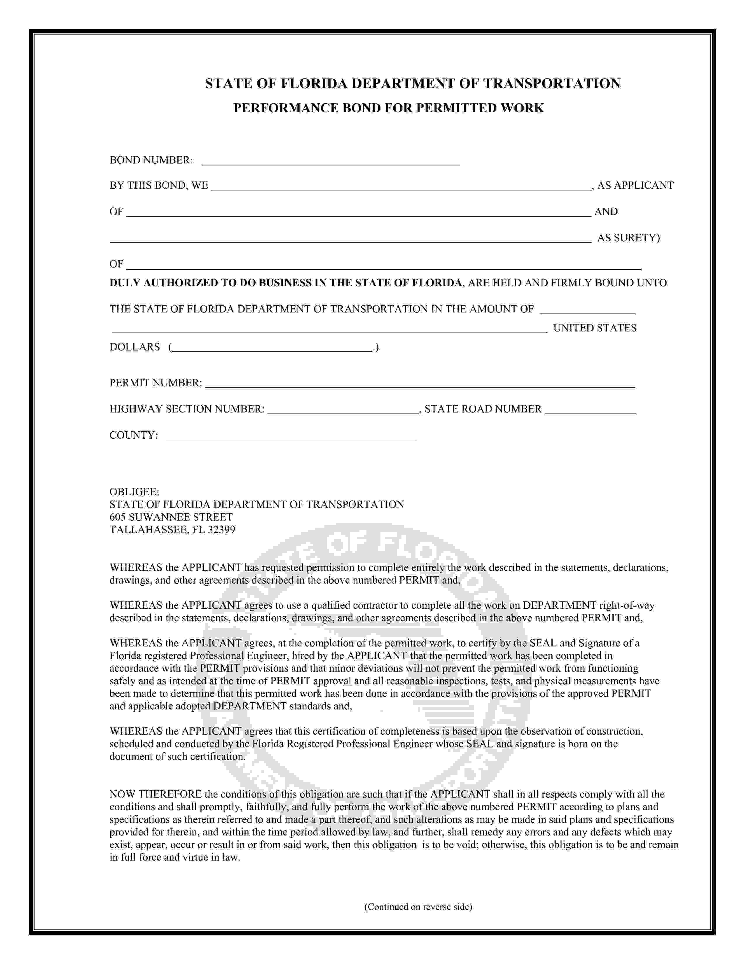 Florida Department Of Transportation Permitted Work Performance Bond sample image