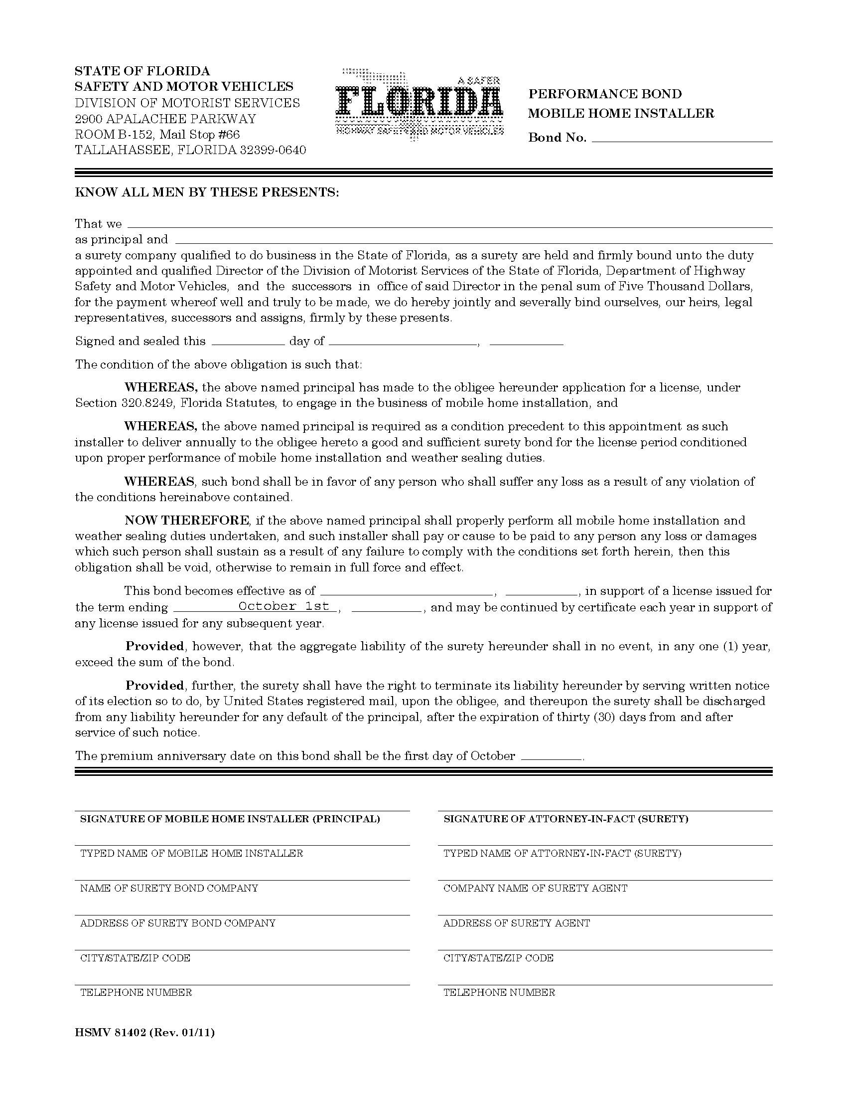 State of Florida Mobile Home Installer Bond sample image