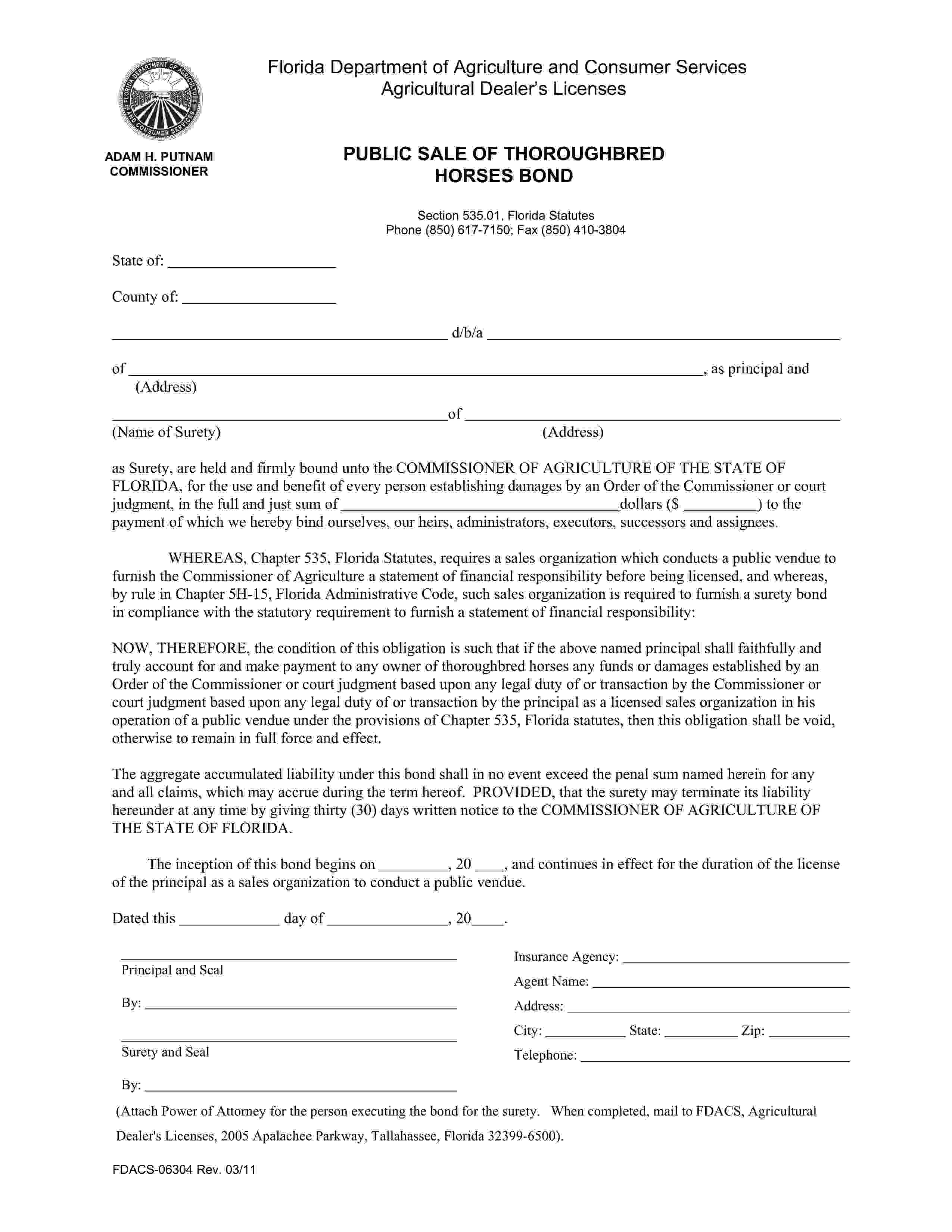 Commissioner of Agriculture of the State of Florida Public Sale of Thoroughbred Horses Bond sample image