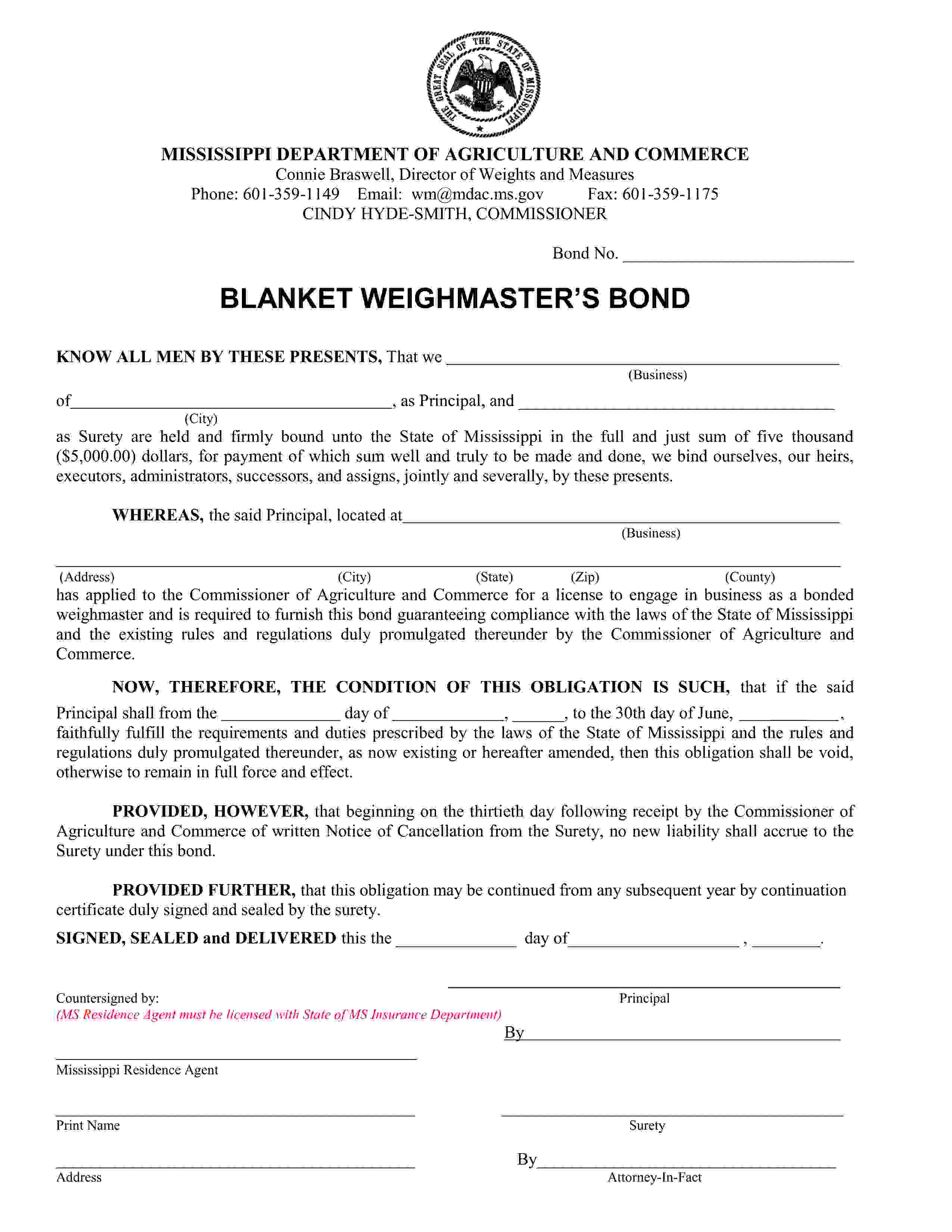 Mississippi Department of Agriculture and Commerce Blanket Weighmaster Bond sample image