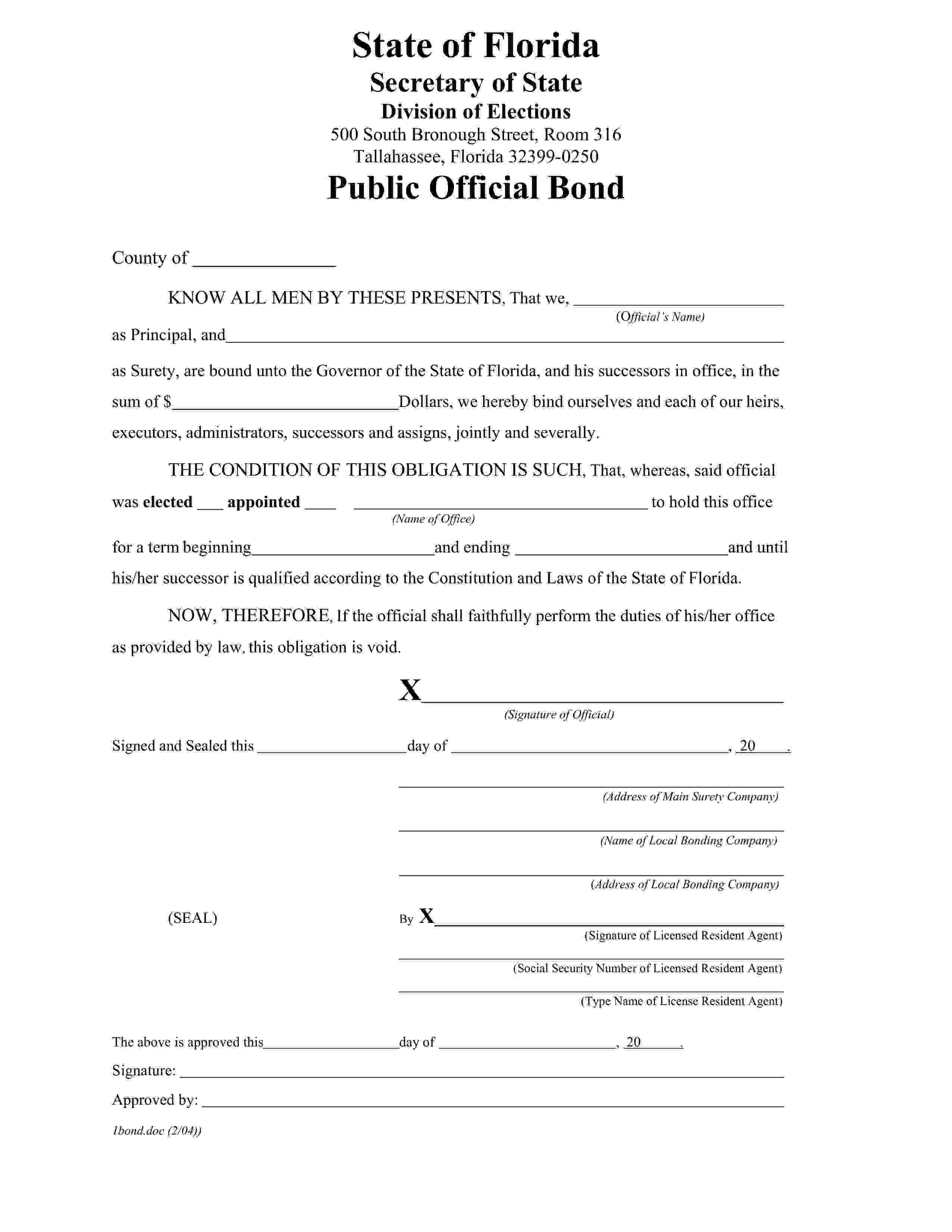 Florida Secretary Of State Treasurer or Tax Collector up to Bond sample image