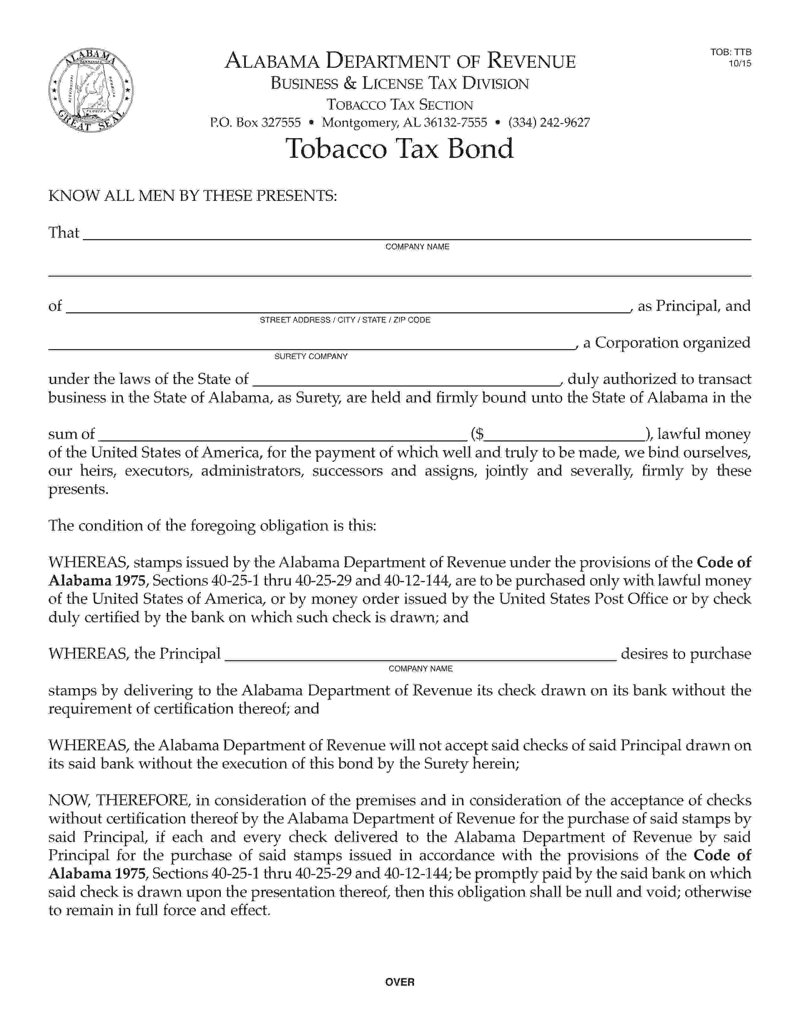 Alabama Department of Revenue Playing Cards Tax / Tobacco Tax sample image