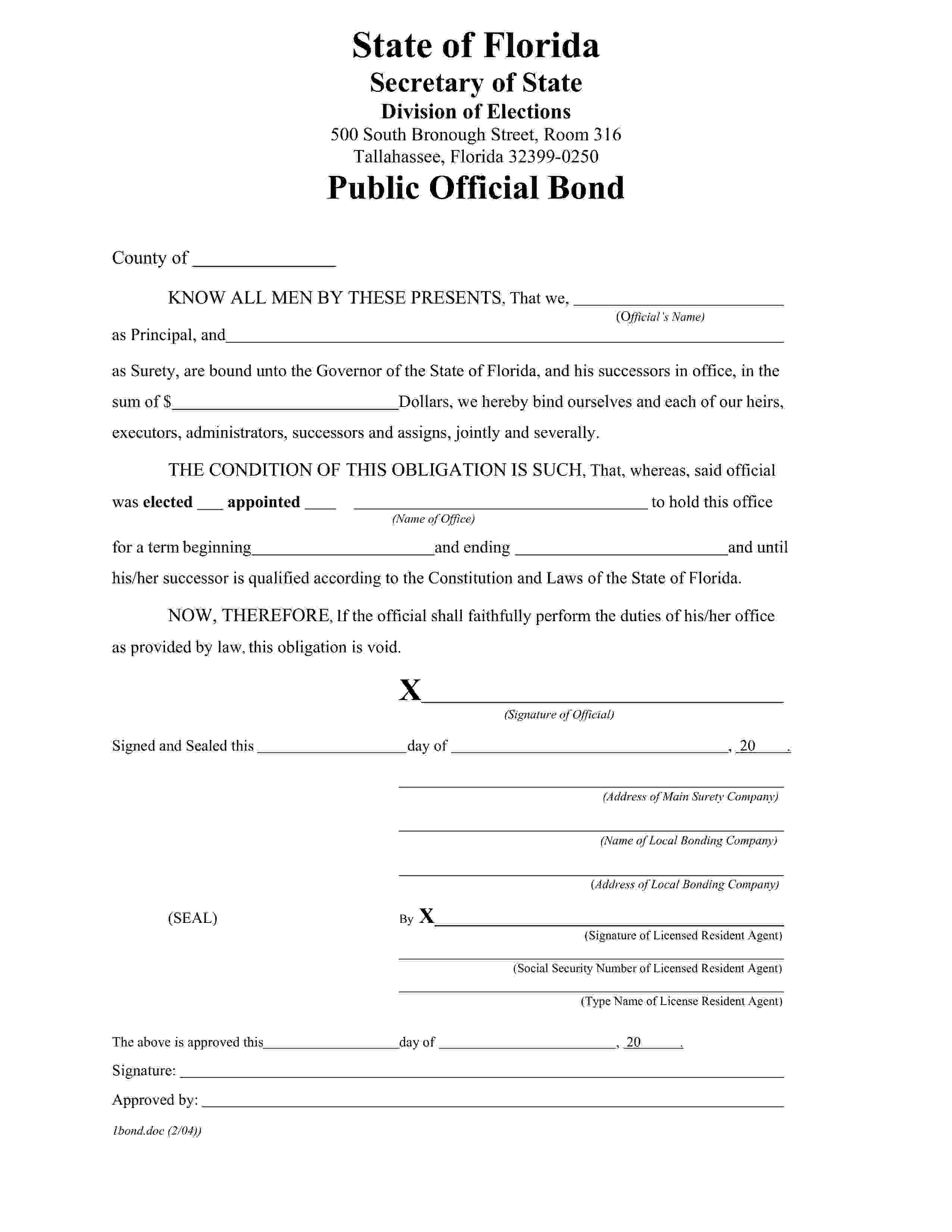Florida Secretary Of State Treasurer or Tax Collector Bond sample image