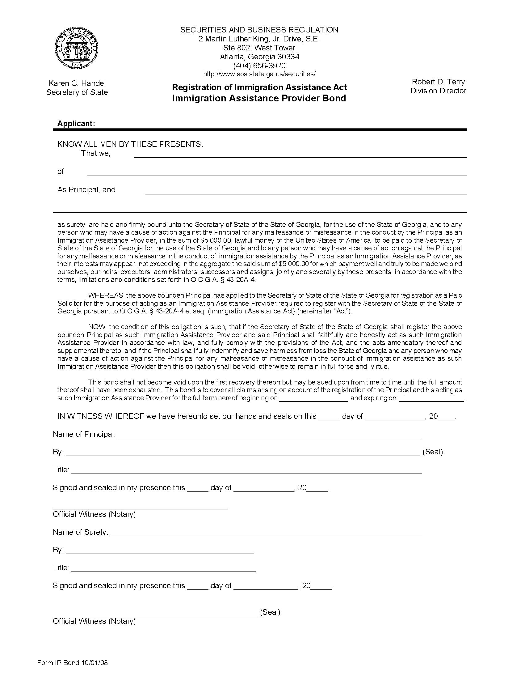 State of Georgia Immigration Assistance Provider sample image