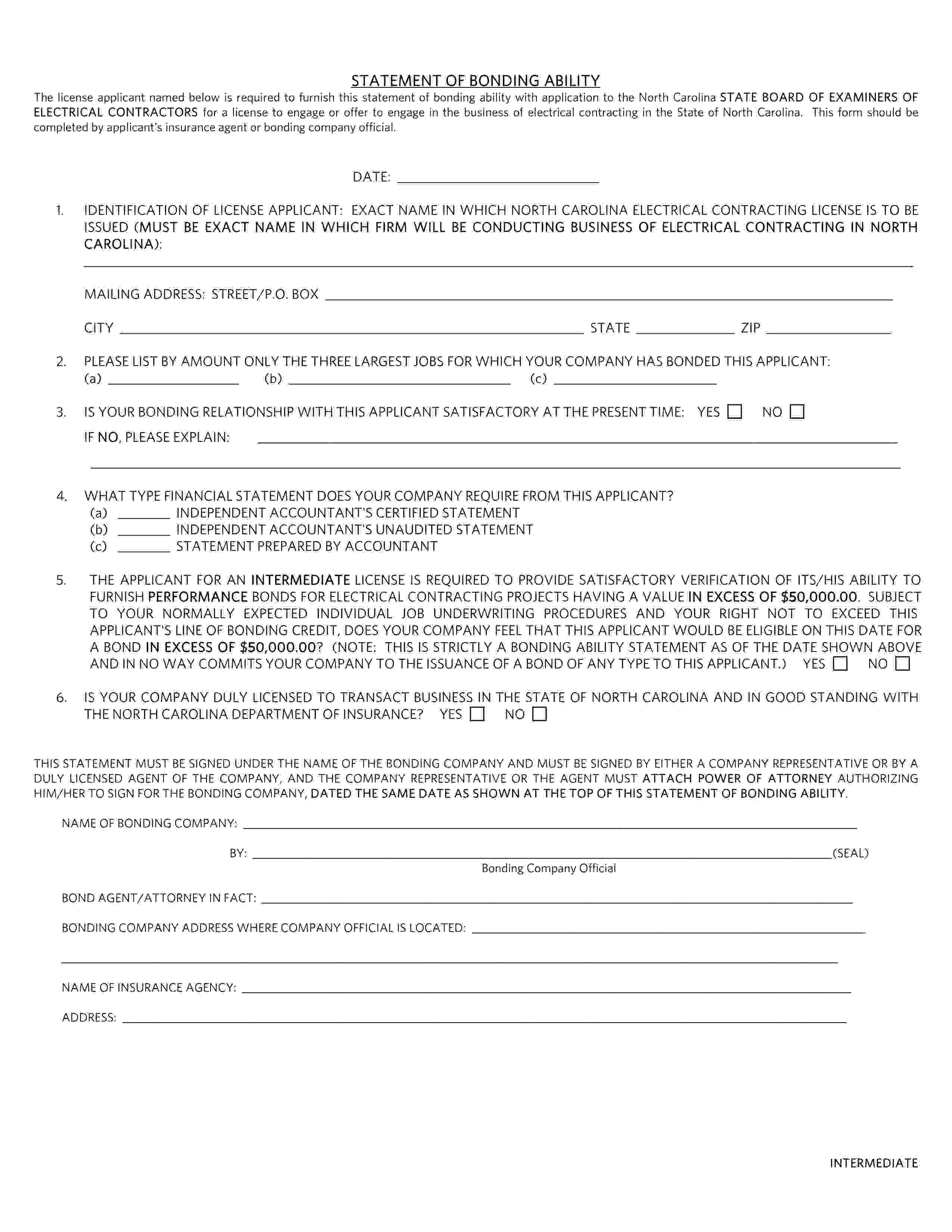 State of North Carolina Statement of Bonding Ability:  Intermediate sample image