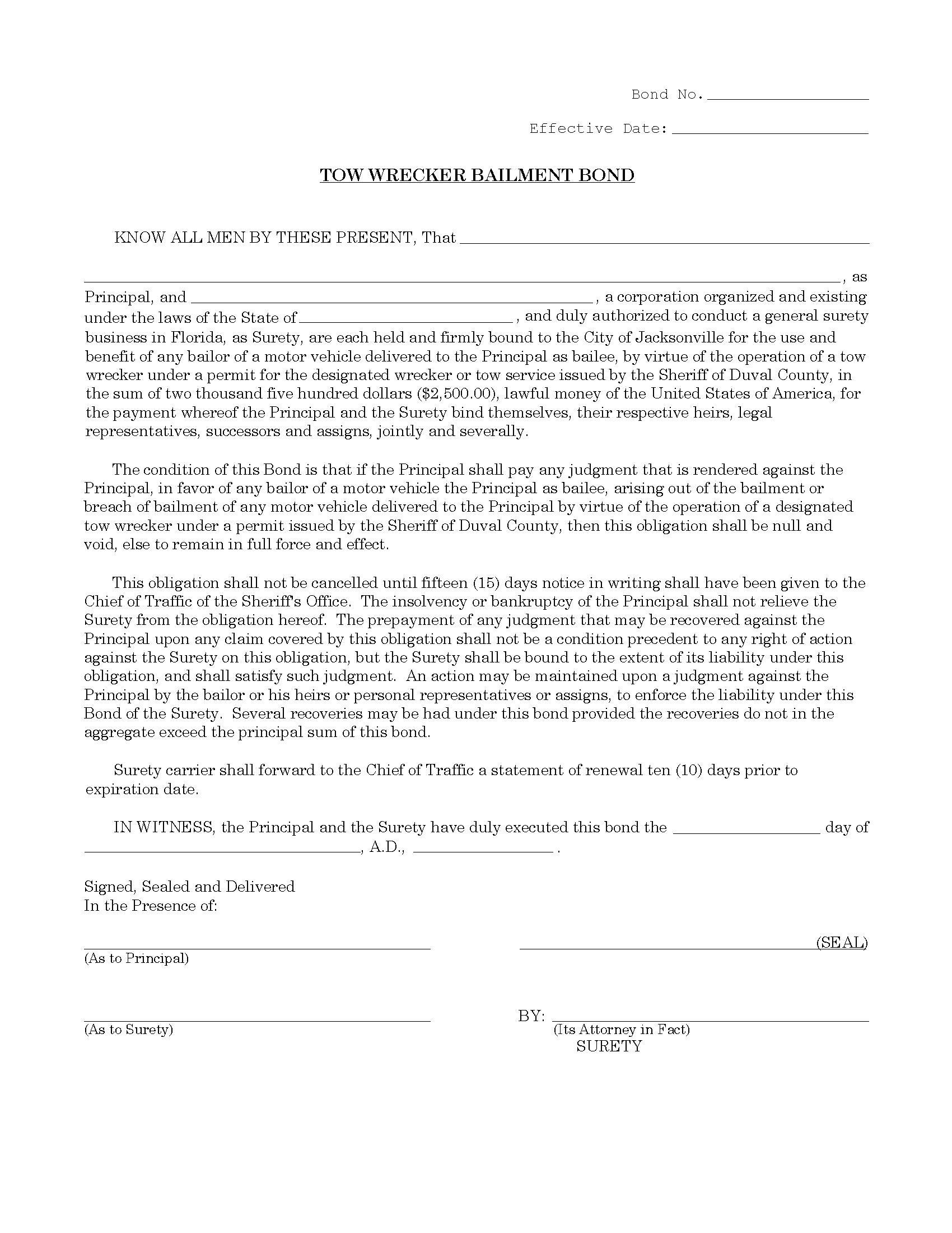 City of Jacksonville Tow Wrecker Bailment Bond sample image