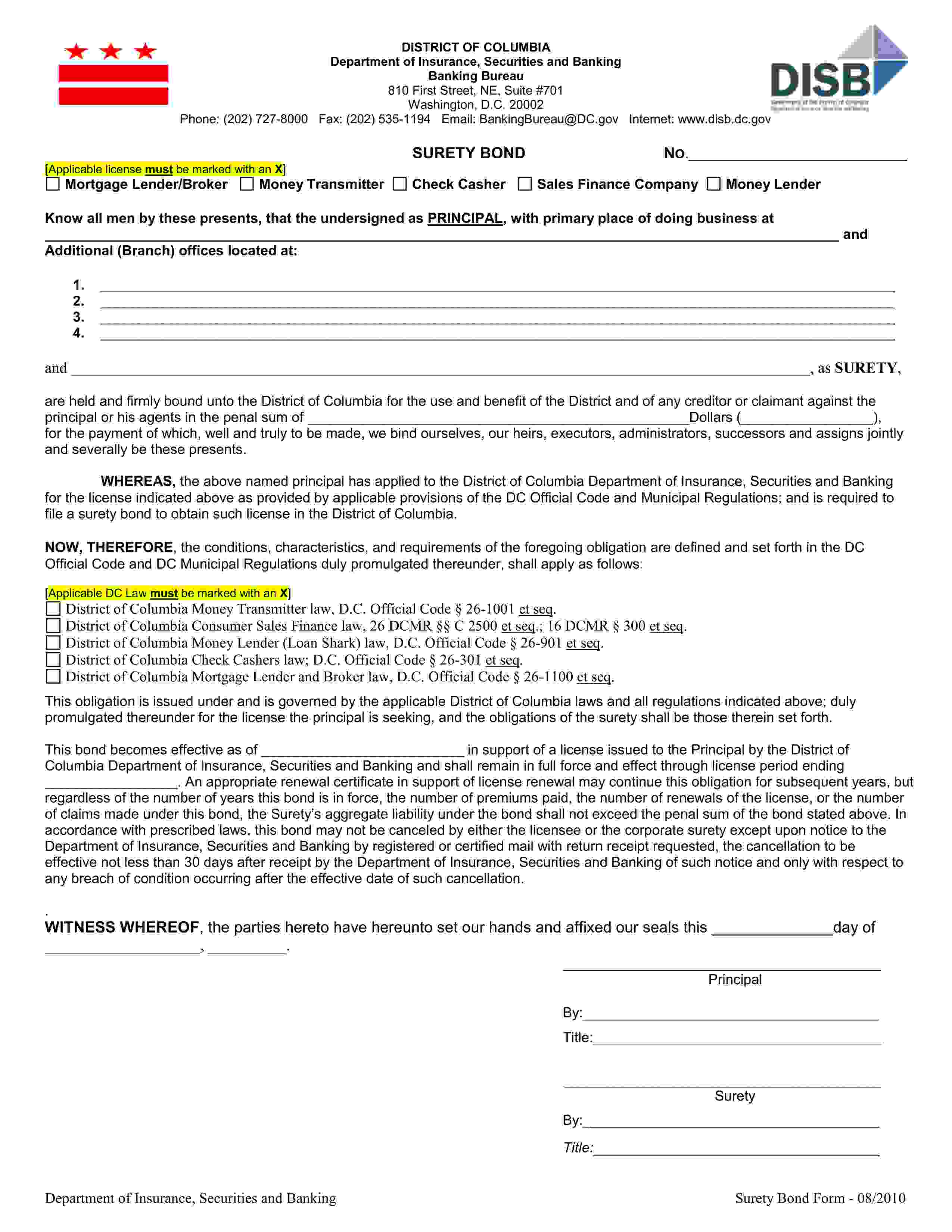 District of Columbia Department of Insurance, Securities, and Banking Retail Seller & Sales Finance Company sample image