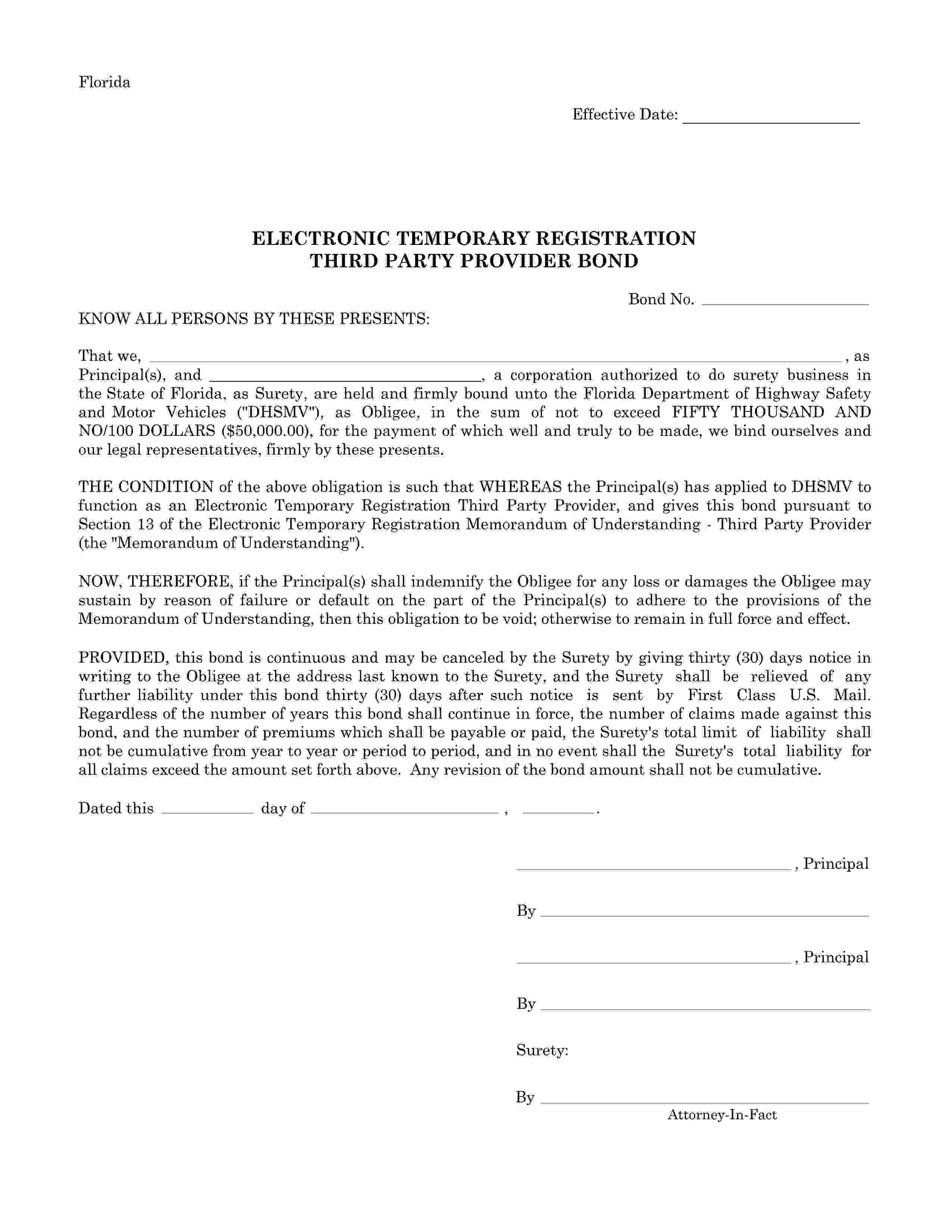 Florida Department Of Highway Safety And Motor Vehicles Electronic Temporary Registration (ETR) Third Party Provider Bond sample image
