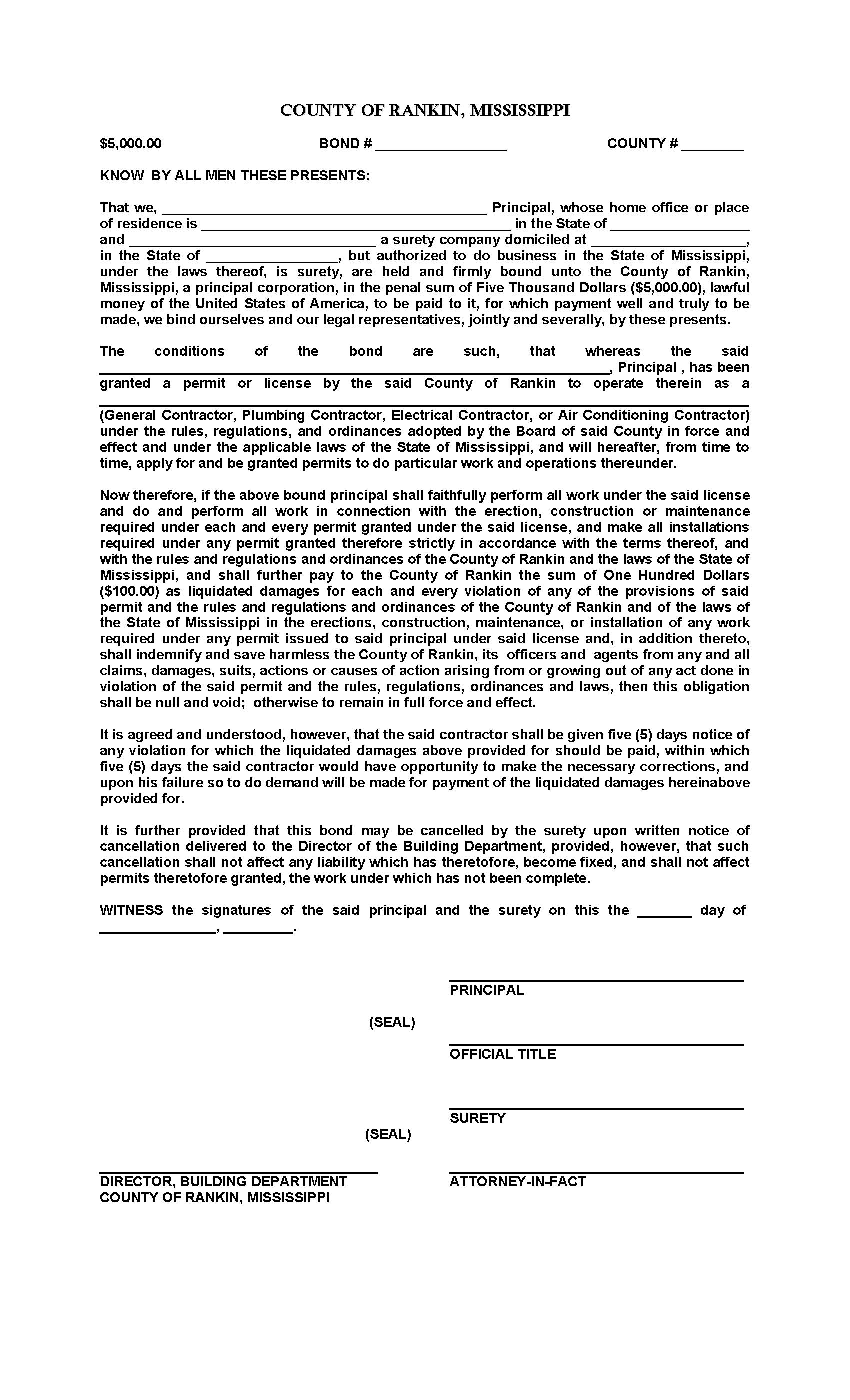 County of Rankin Contractor's License sample image