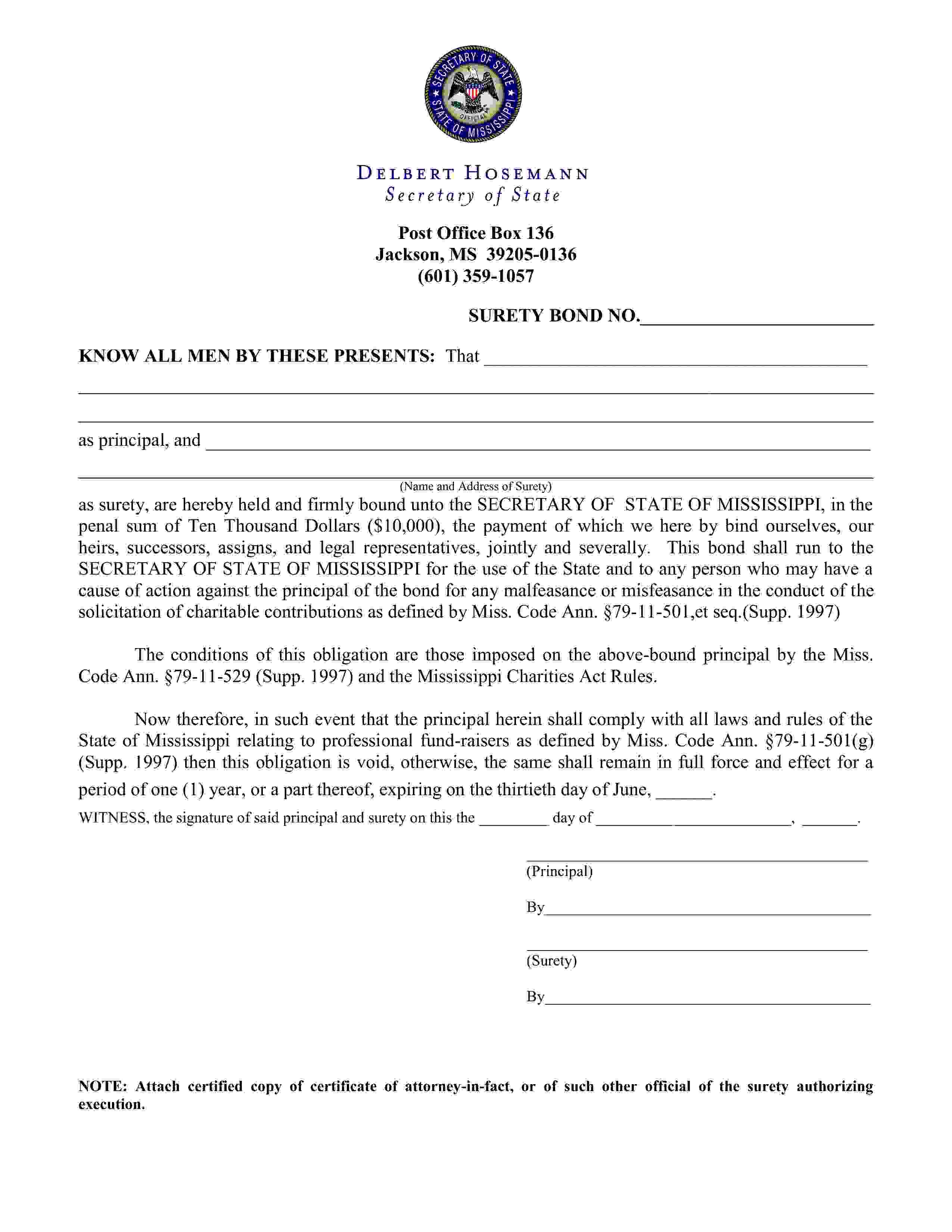 State of Mississippi Professional Fundraiser Bond sample image
