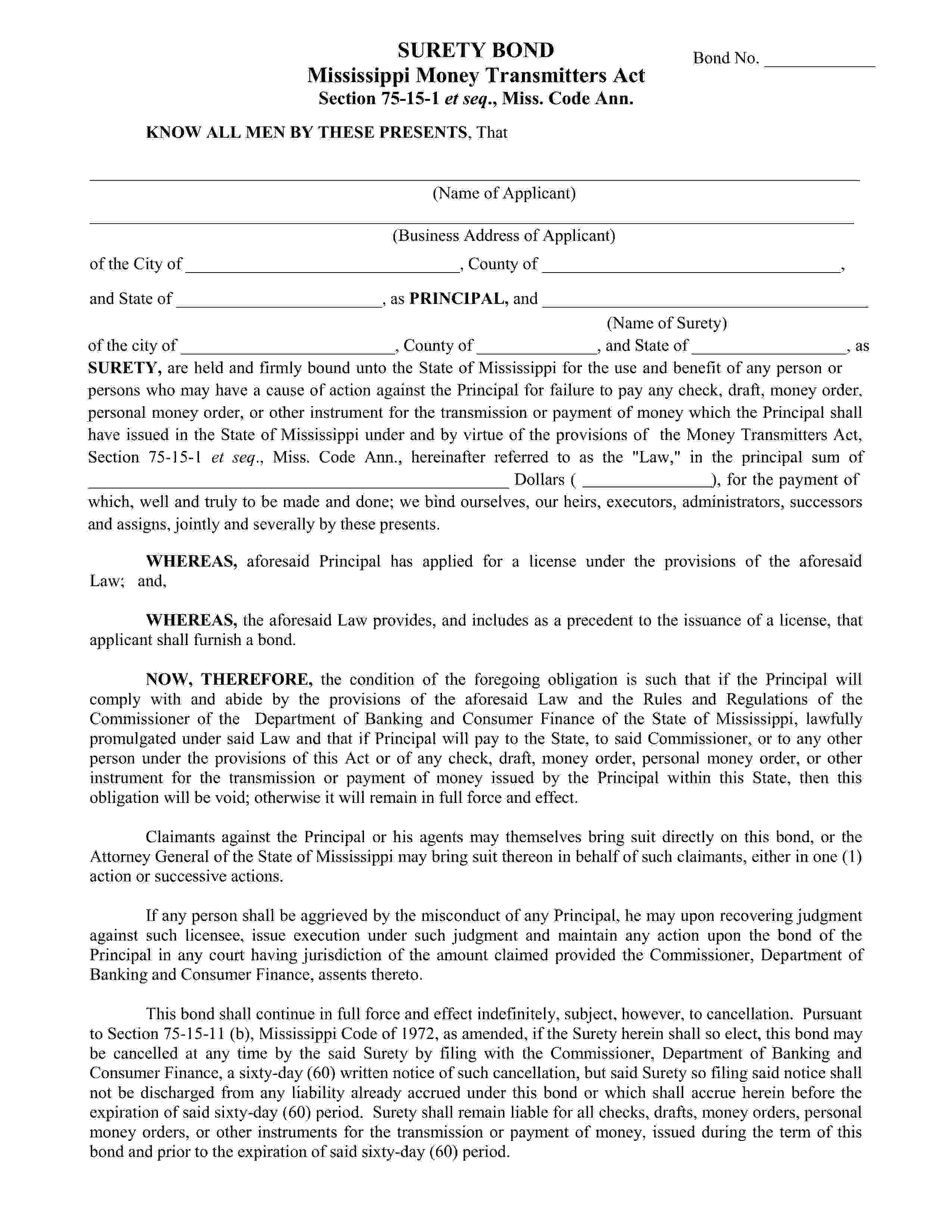 Mississippi Department of Banking and Consumer Finance Money Transmitter Bond sample image