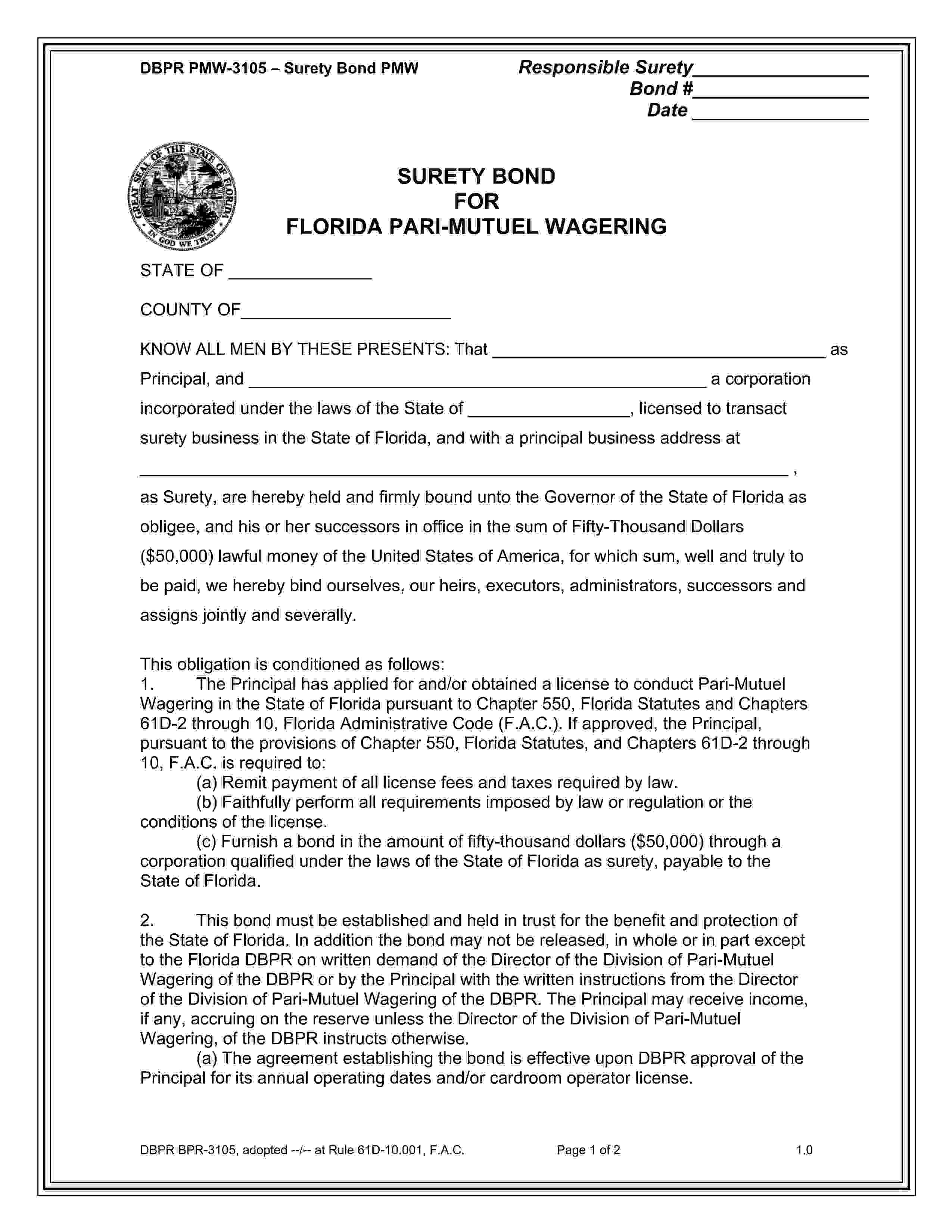 Florida Dbpr, Division Of Pari-Mutuel Wagering Pari-Mutuel Wagering Bond sample image