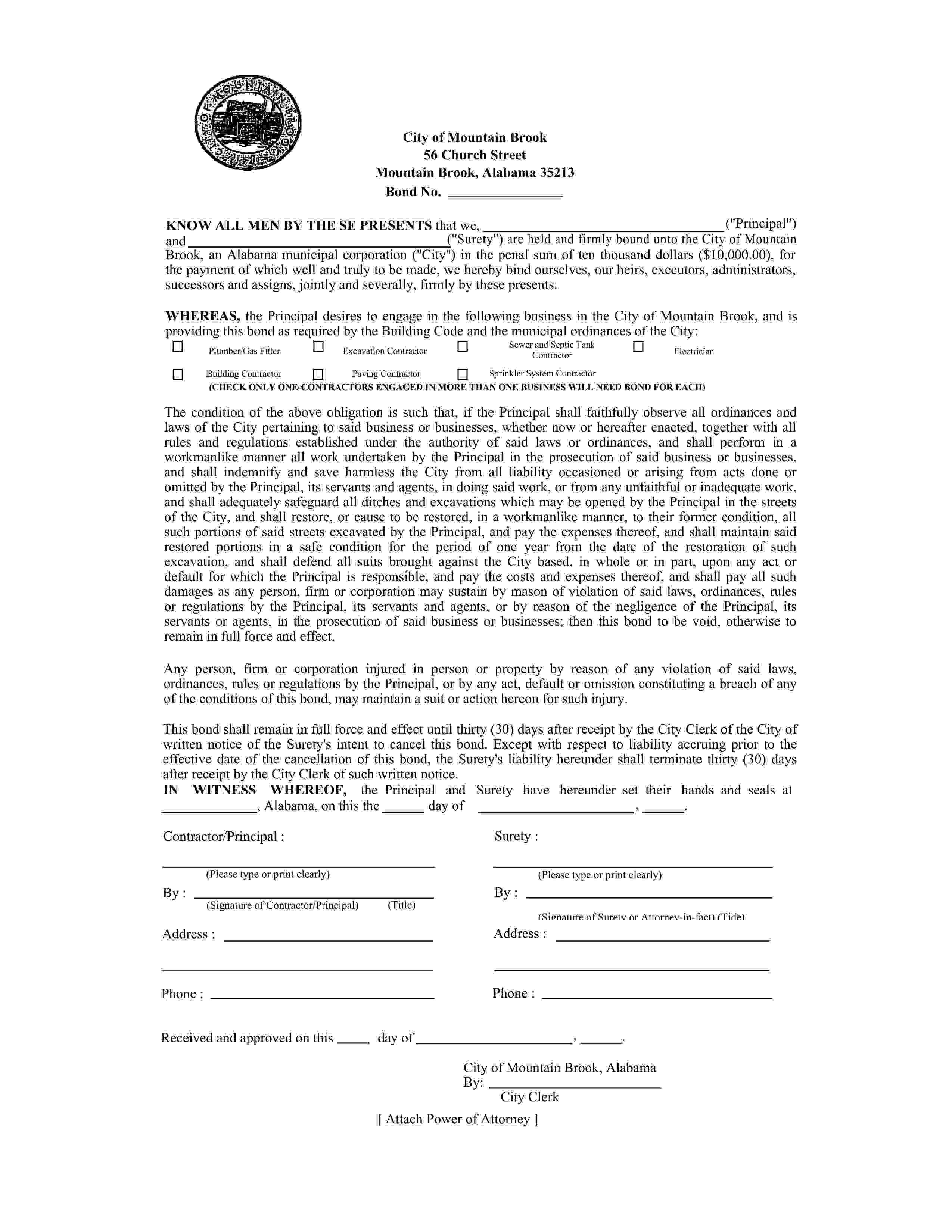 City of Mountain Brook Sewer and Septic Tank Contractor Bond sample image