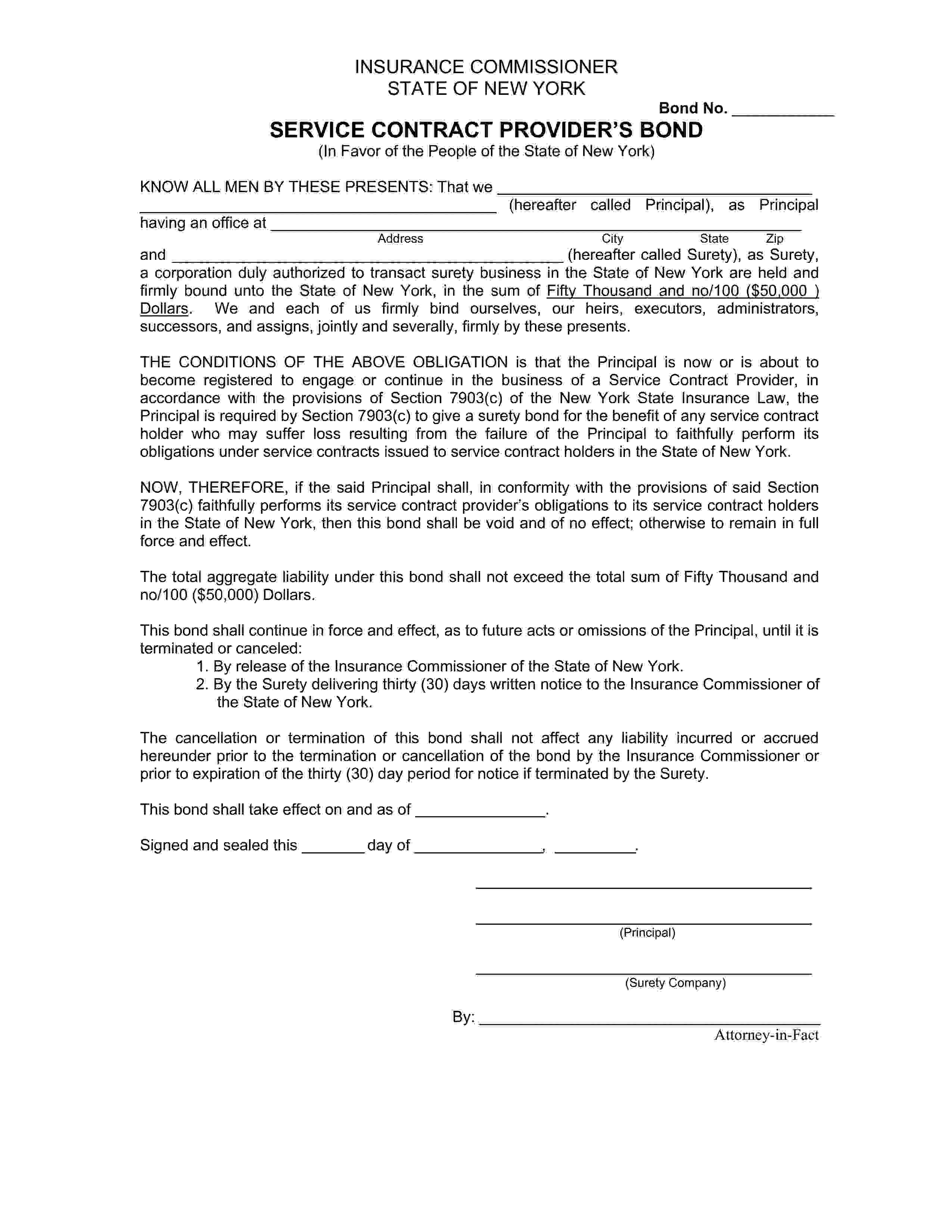 New York Department of Insurance Service Contract Provider sample image