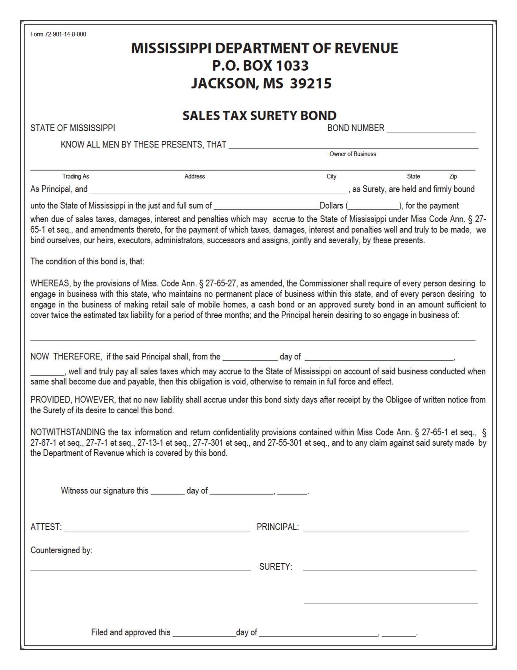 State of Mississippi Sales Tax: Non-Resident Business / Sales Tax: Retail Sales Bond sample image