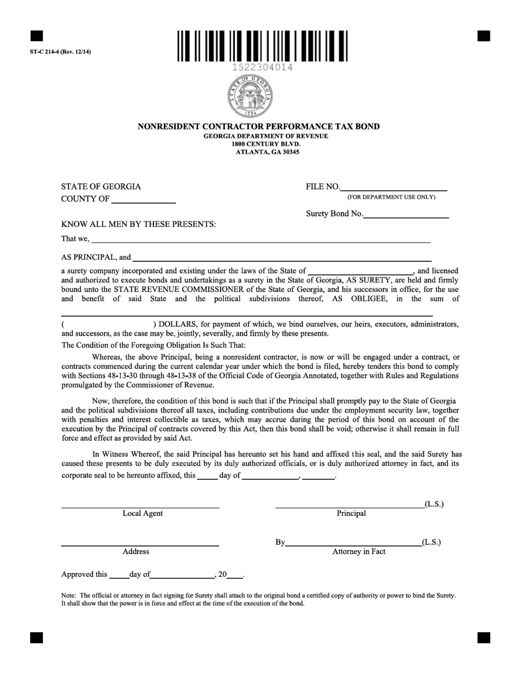 Georgia Department of Revenue Nonresident Contractor's Performance Tax Bond sample image