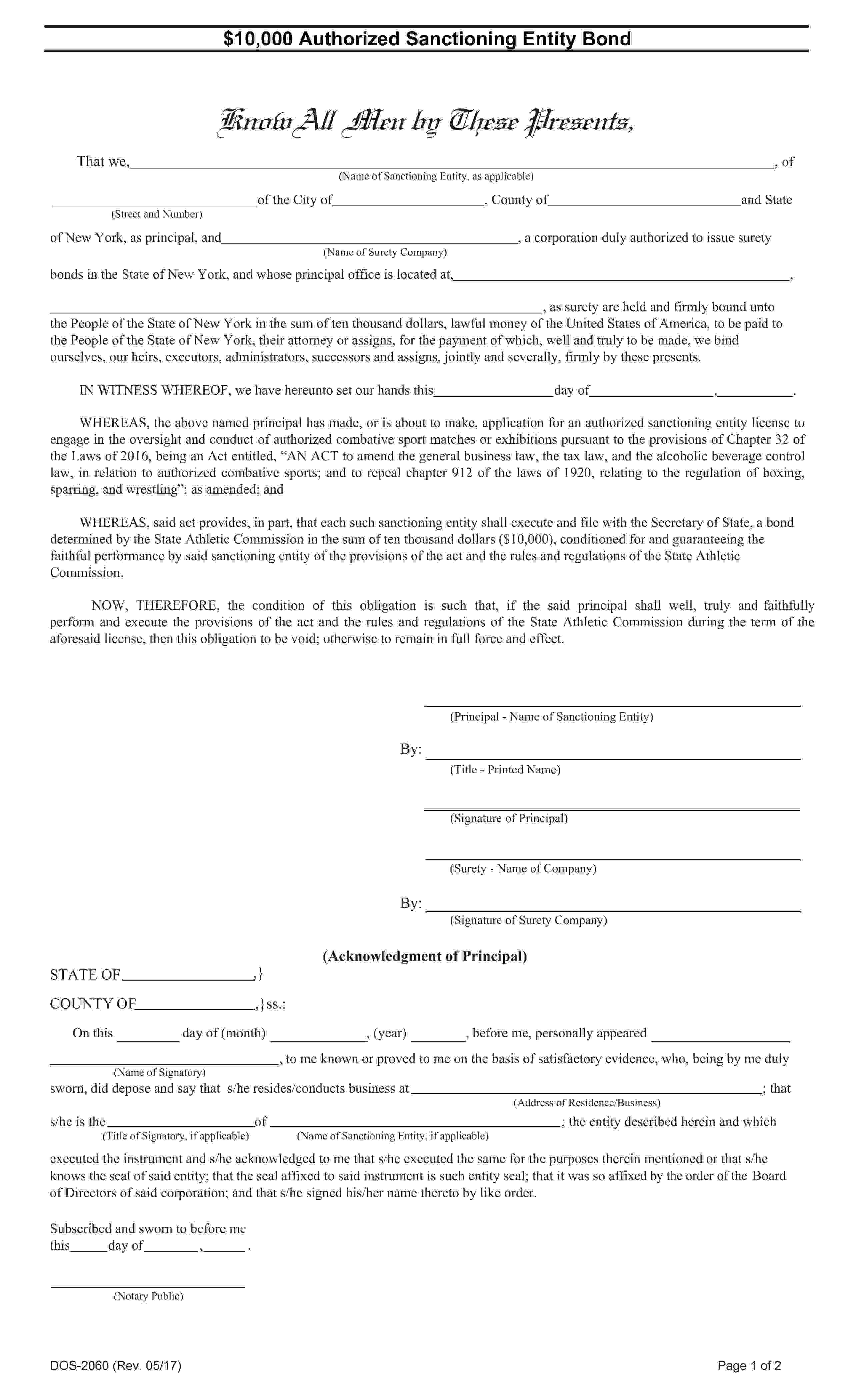 NY State Athletic Commission Authorized Sanctioning Entity Bond sample image