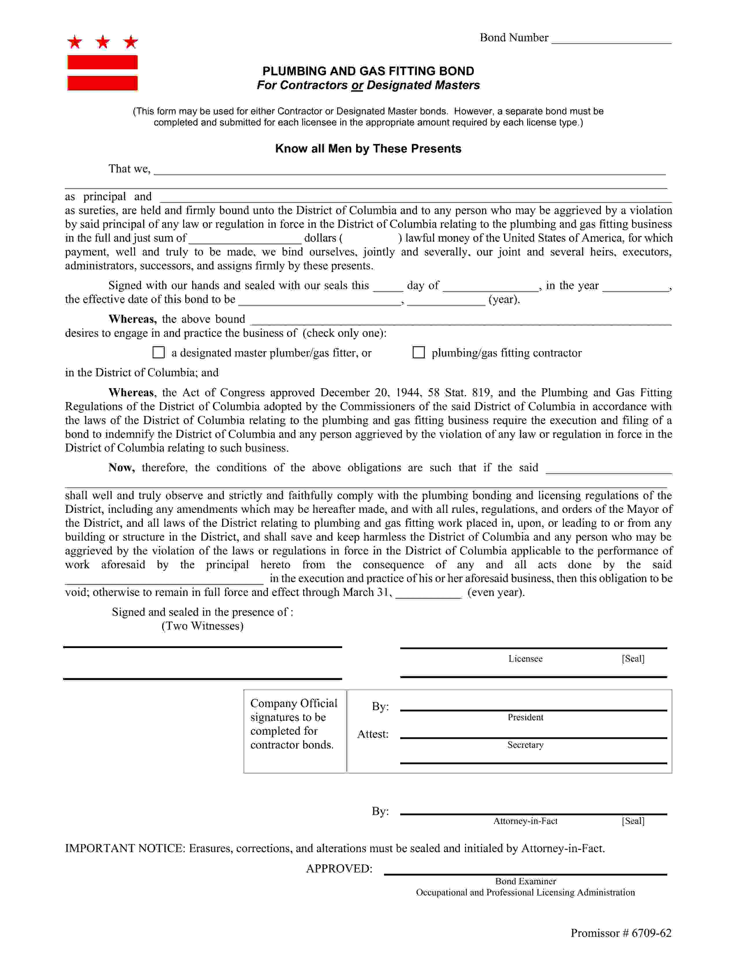 District of Columbia Designated Master Plumber/Gas Fitter Bond sample image