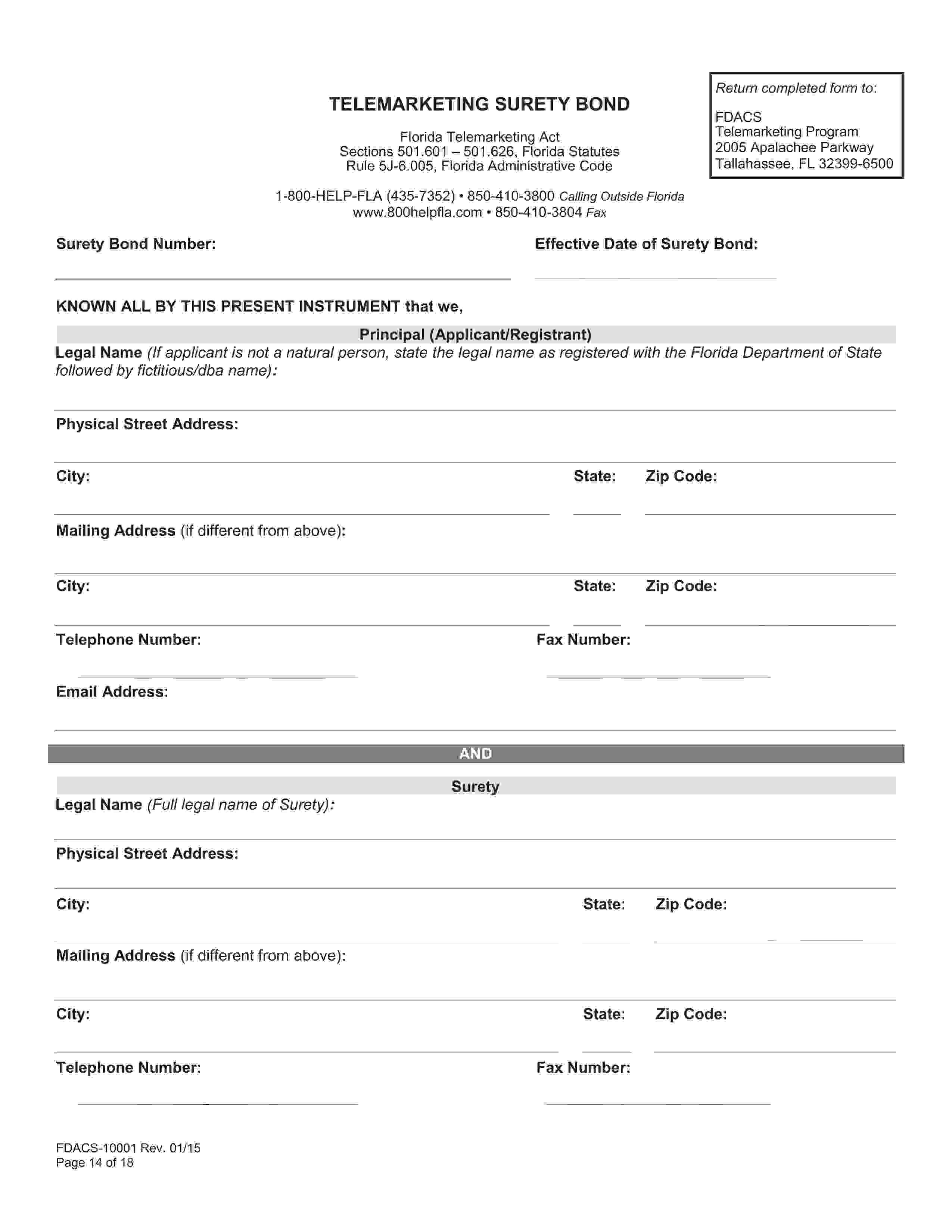 Department Of Agriculture And Consumer Services Telemarketing Bond sample image