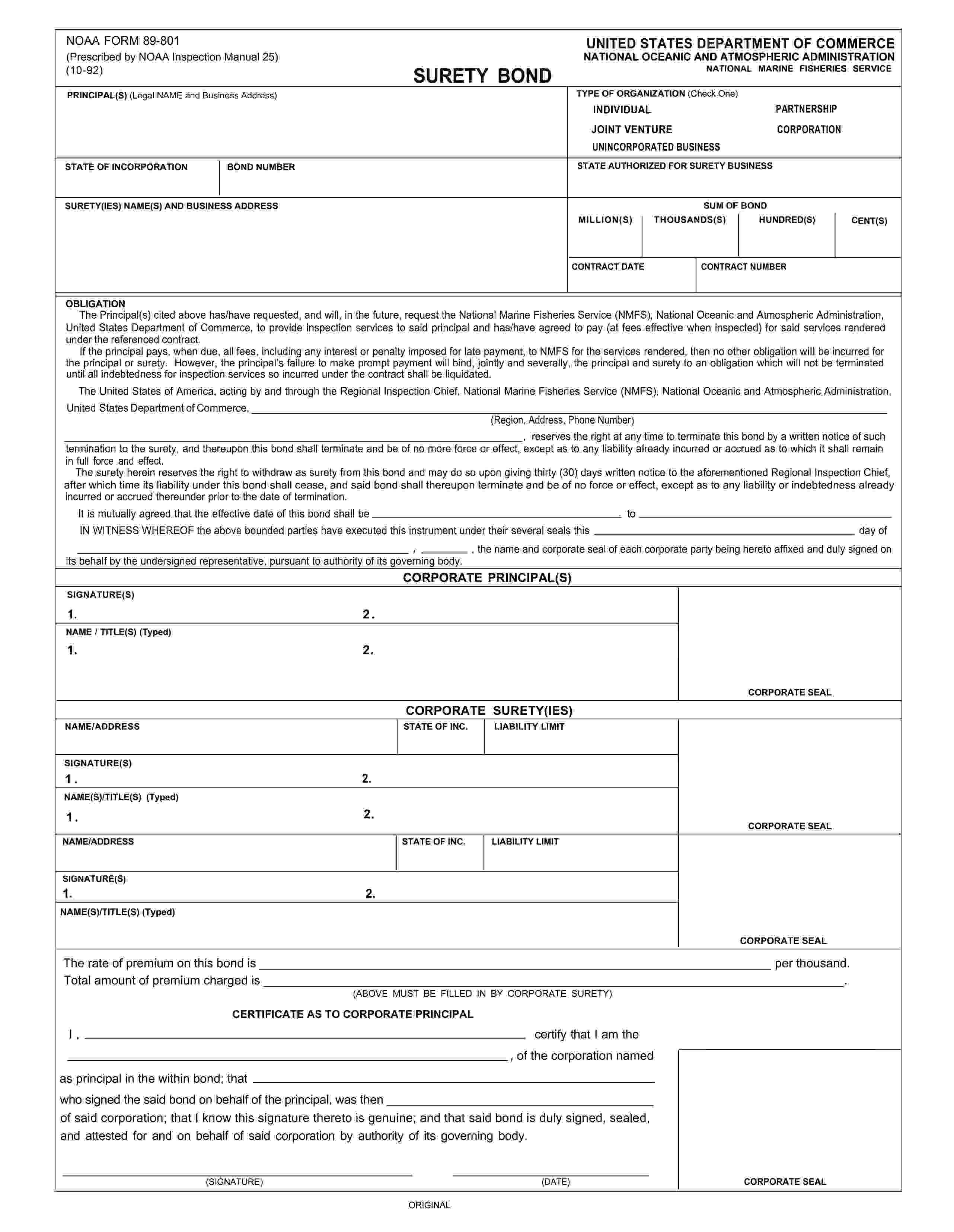 US Department of Commerce National Marine Fisheries Inspection Bond sample image