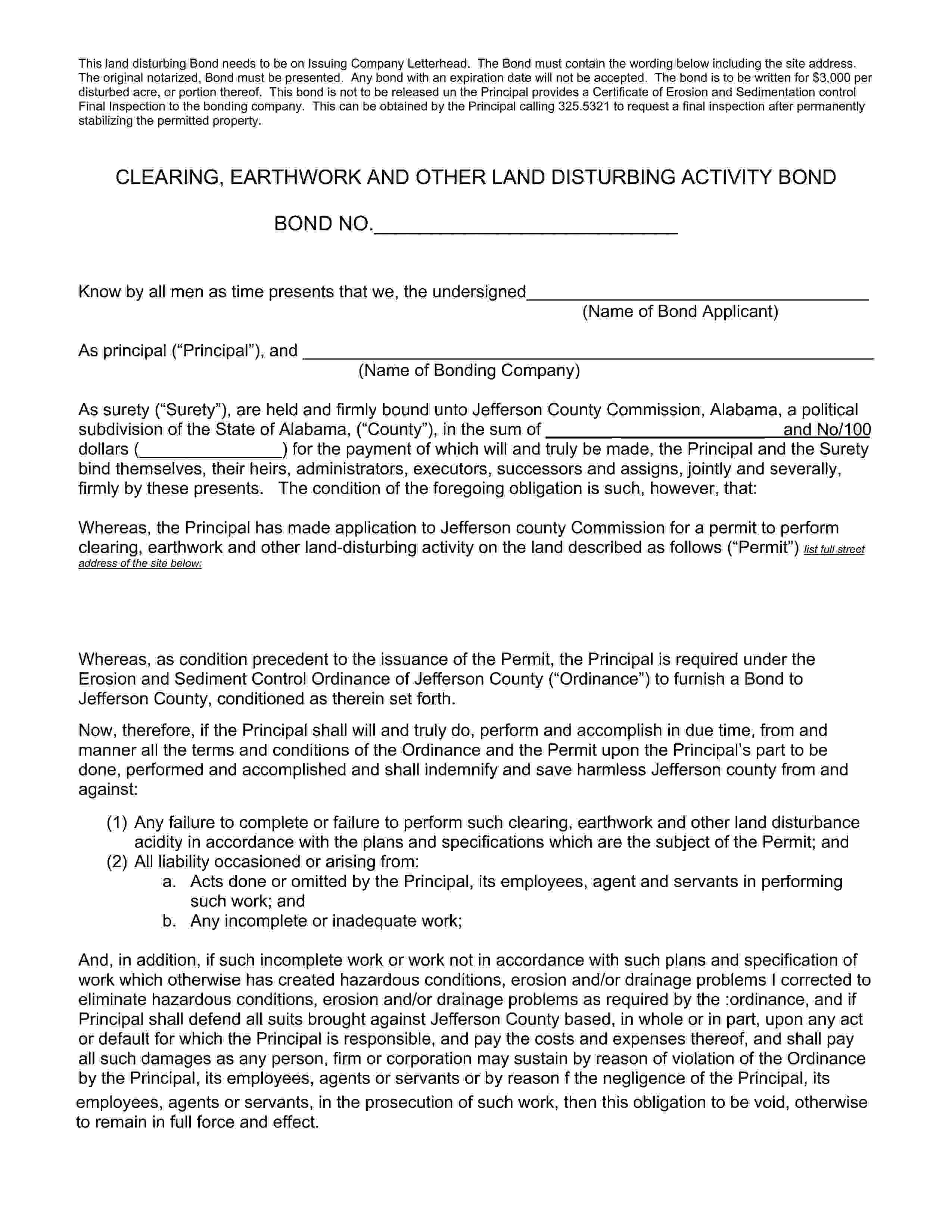 Jefferson County Commission Jefferson - County Land Disturbing Bond sample image
