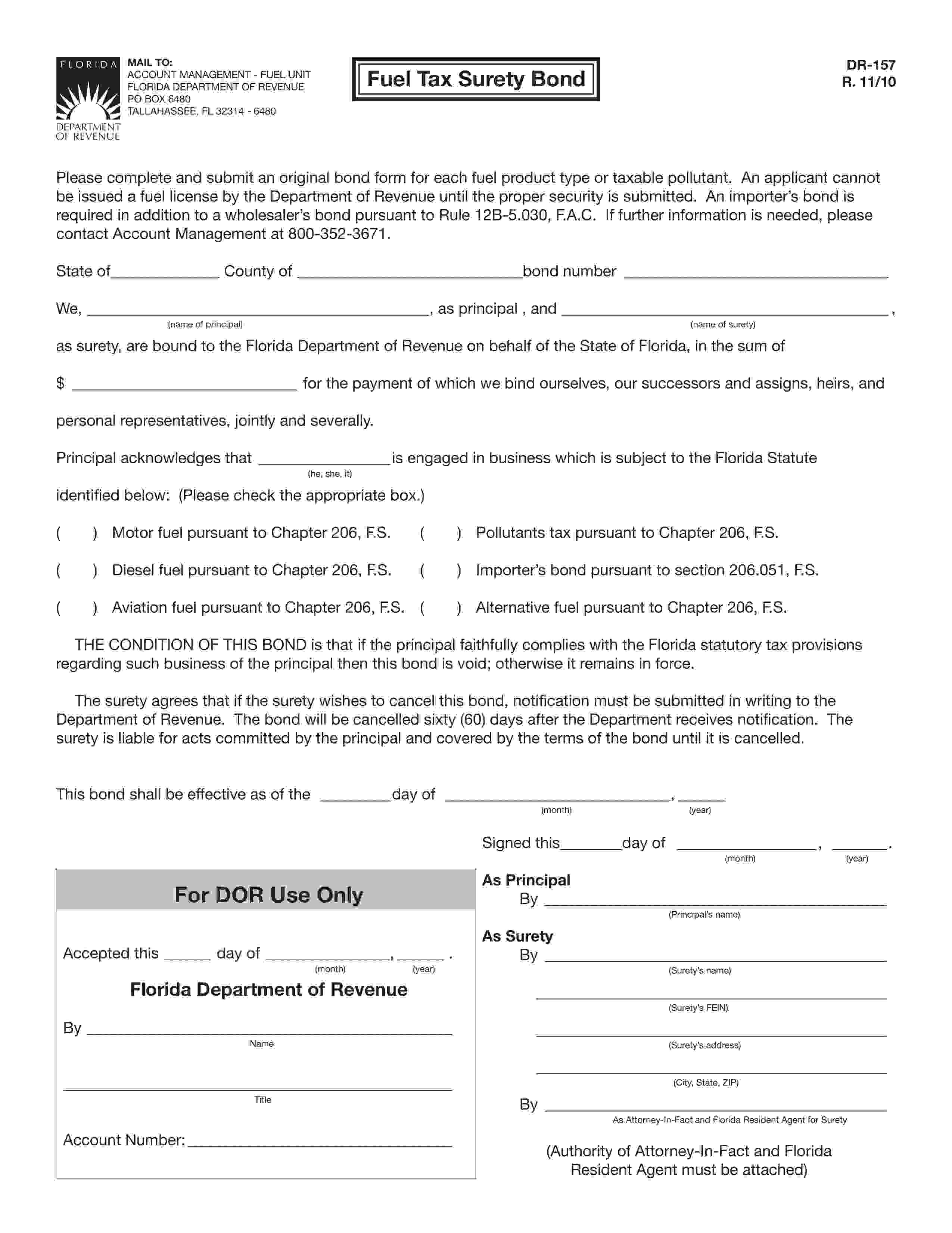 Florida Department Of Revenue, Fuel Unit Fuel Tax: Pollutants Tax Bond sample image