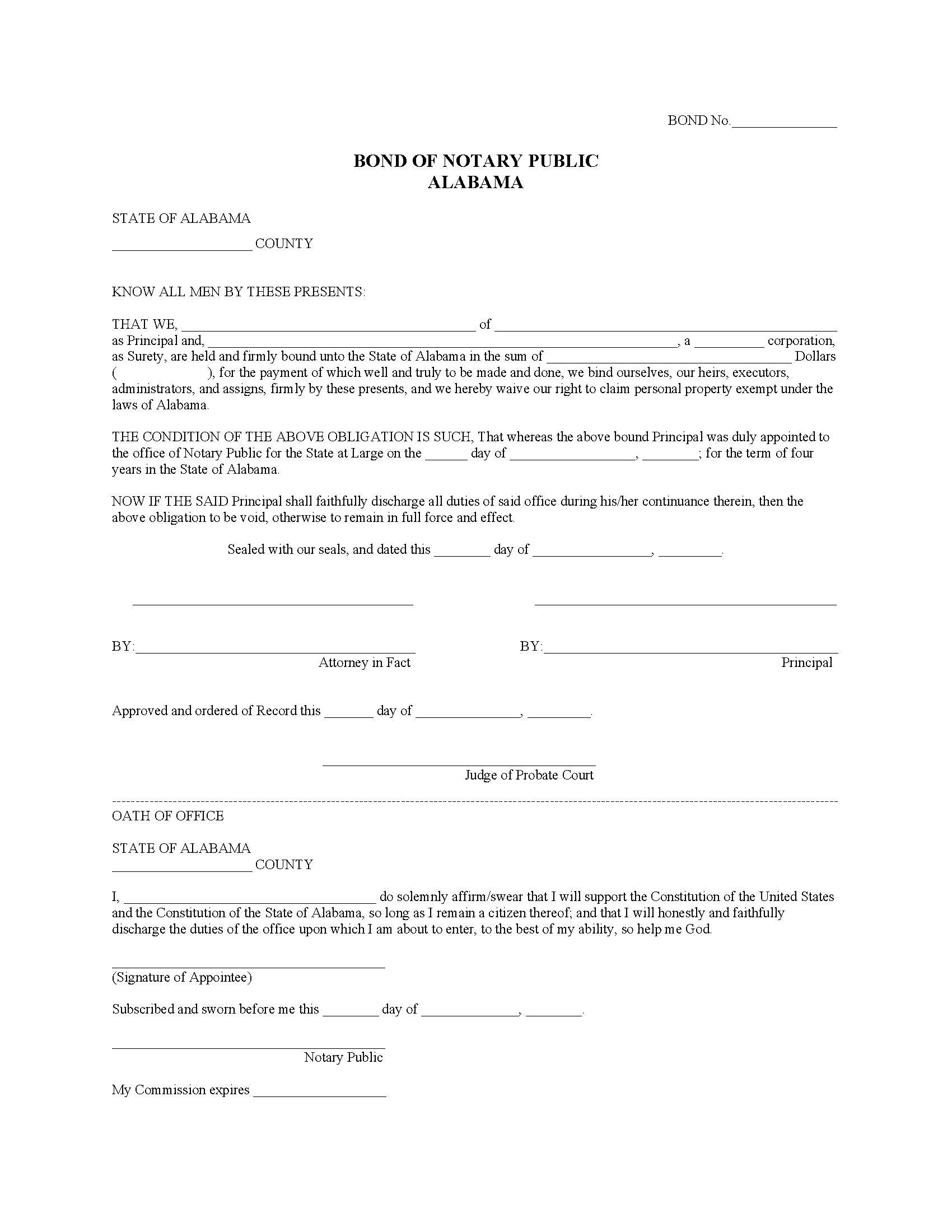 State of Alabama Notary Public Bond sample image