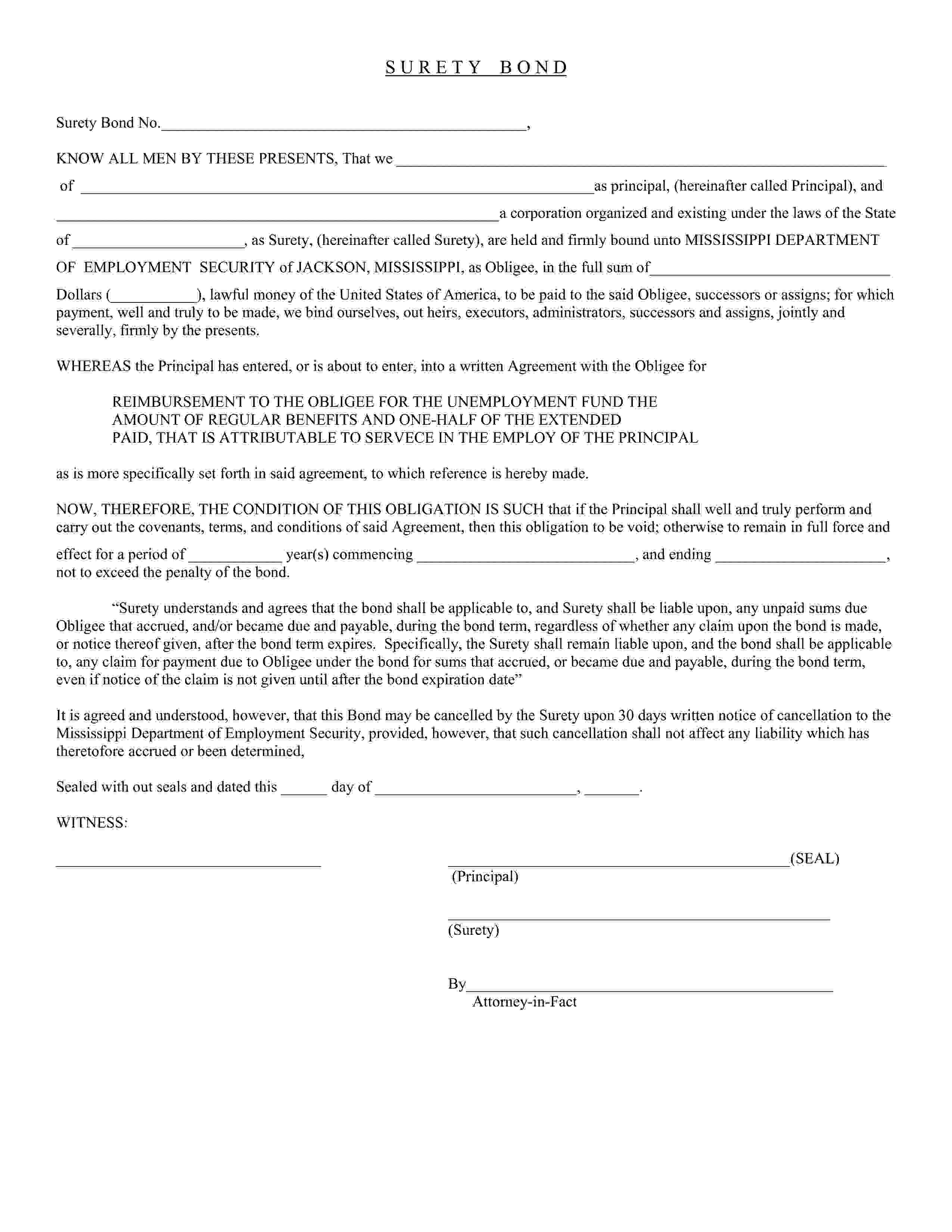 Mississippi Department of Employment Security Reimbursing Employer (Unemployment Tax) Bond sample image