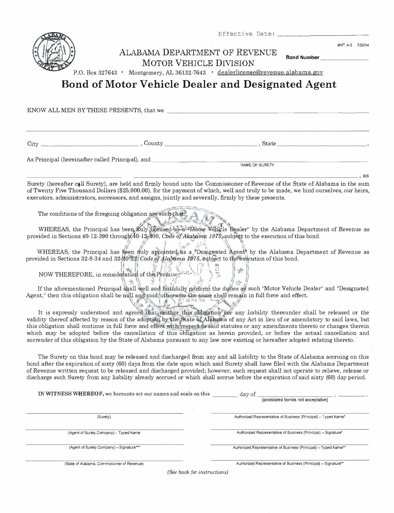 State of Alabama Motor Vehicle Dealer and Designated Agent Bond sample image