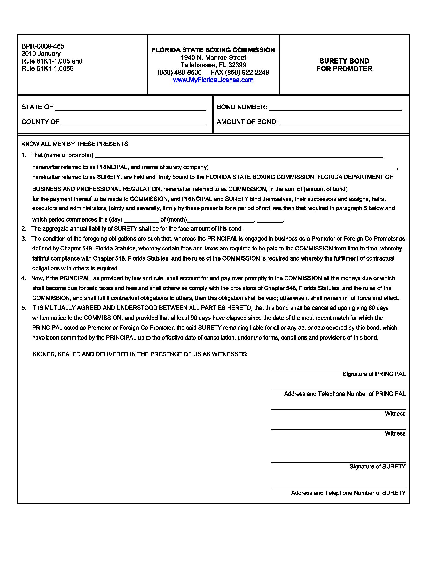 Florida State Boxing Commission, Florida Department of Business and Professional Regulation Boxing Promoter Bond sample image