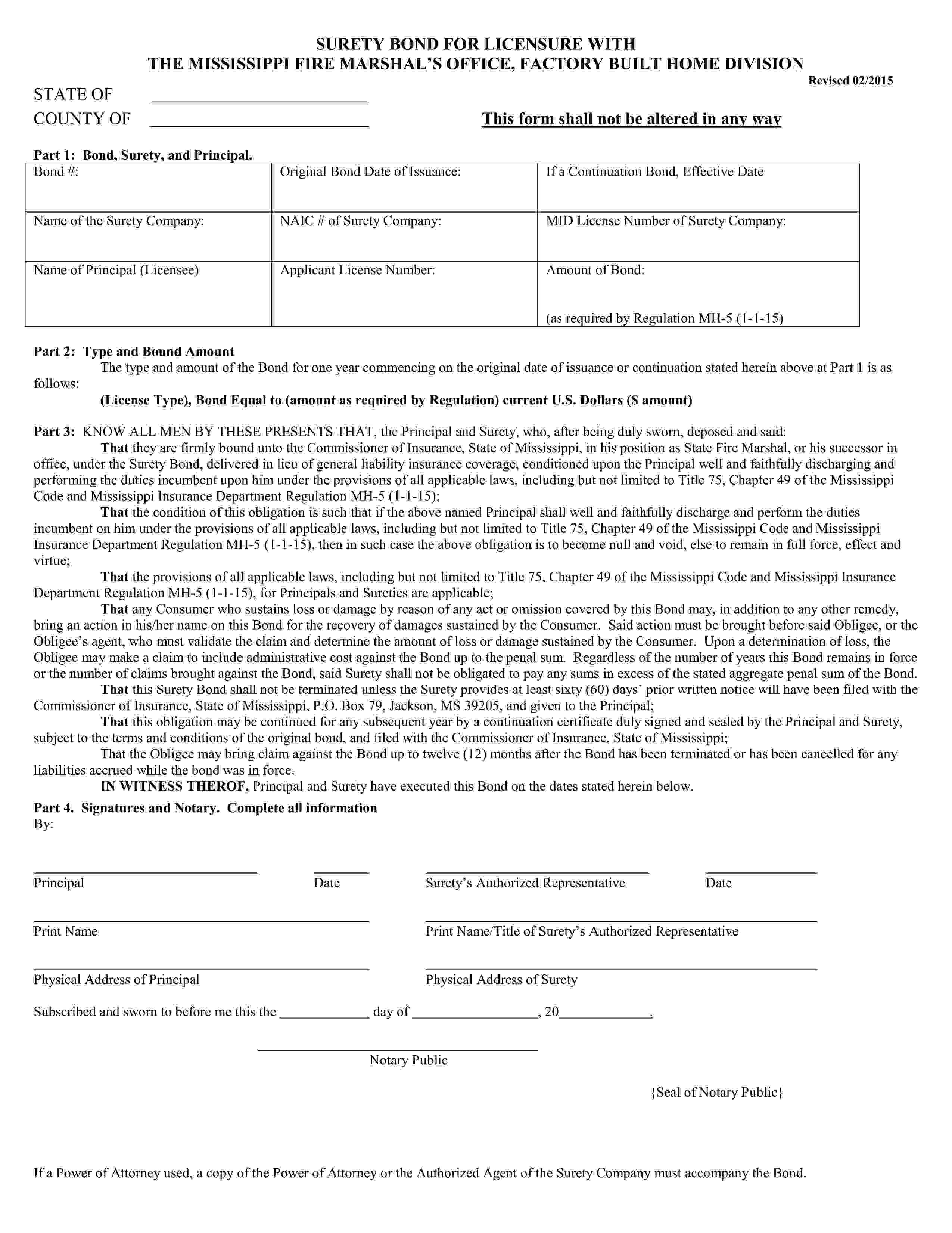 Mississippi Commissioner of Insurance Manufactured Home Developer Bond sample image