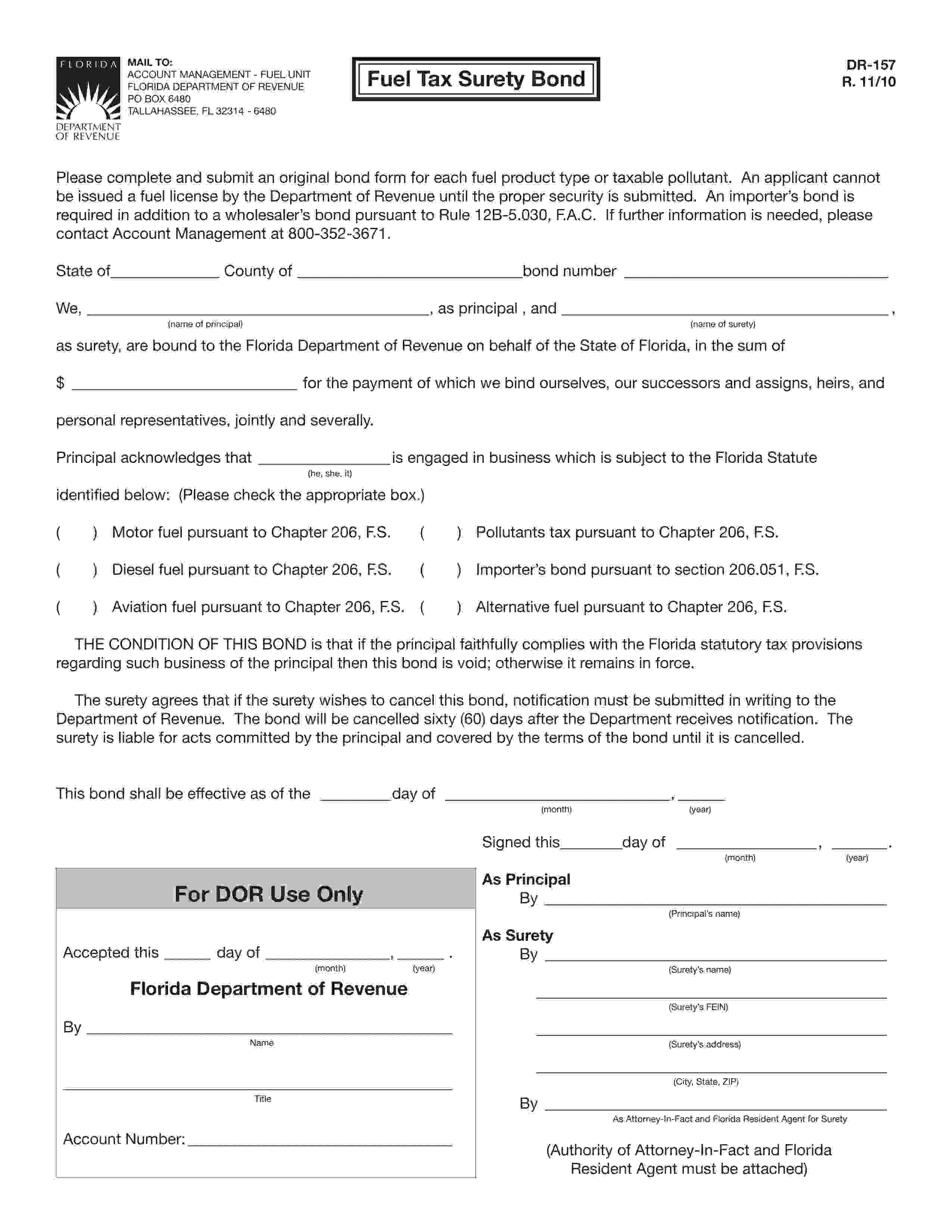 Florida Department Of Revenue, Fuel Unit Fuel Tax: Motor Fuel Bond sample image