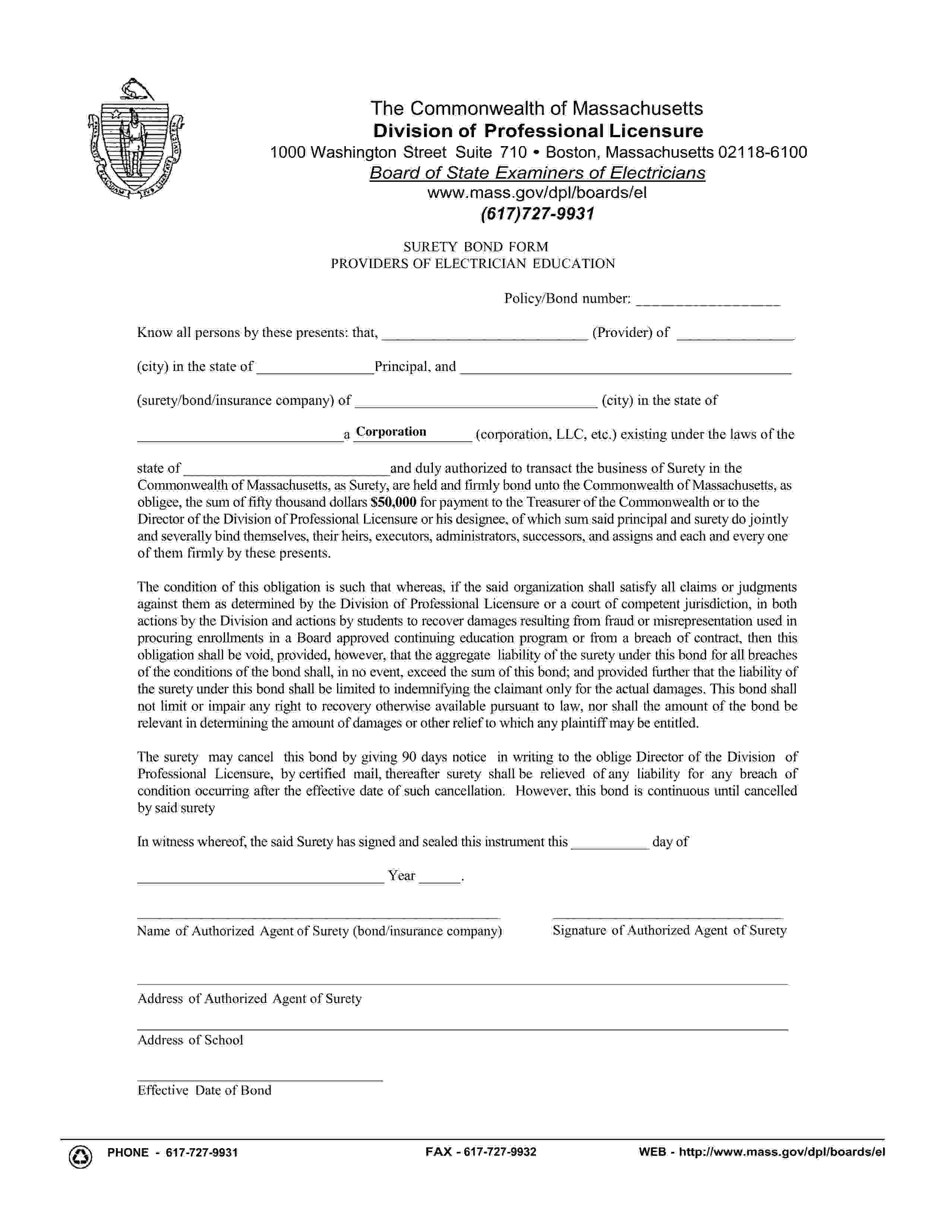 Commonwealth of Massachusetts Providers of Electrician Education sample image