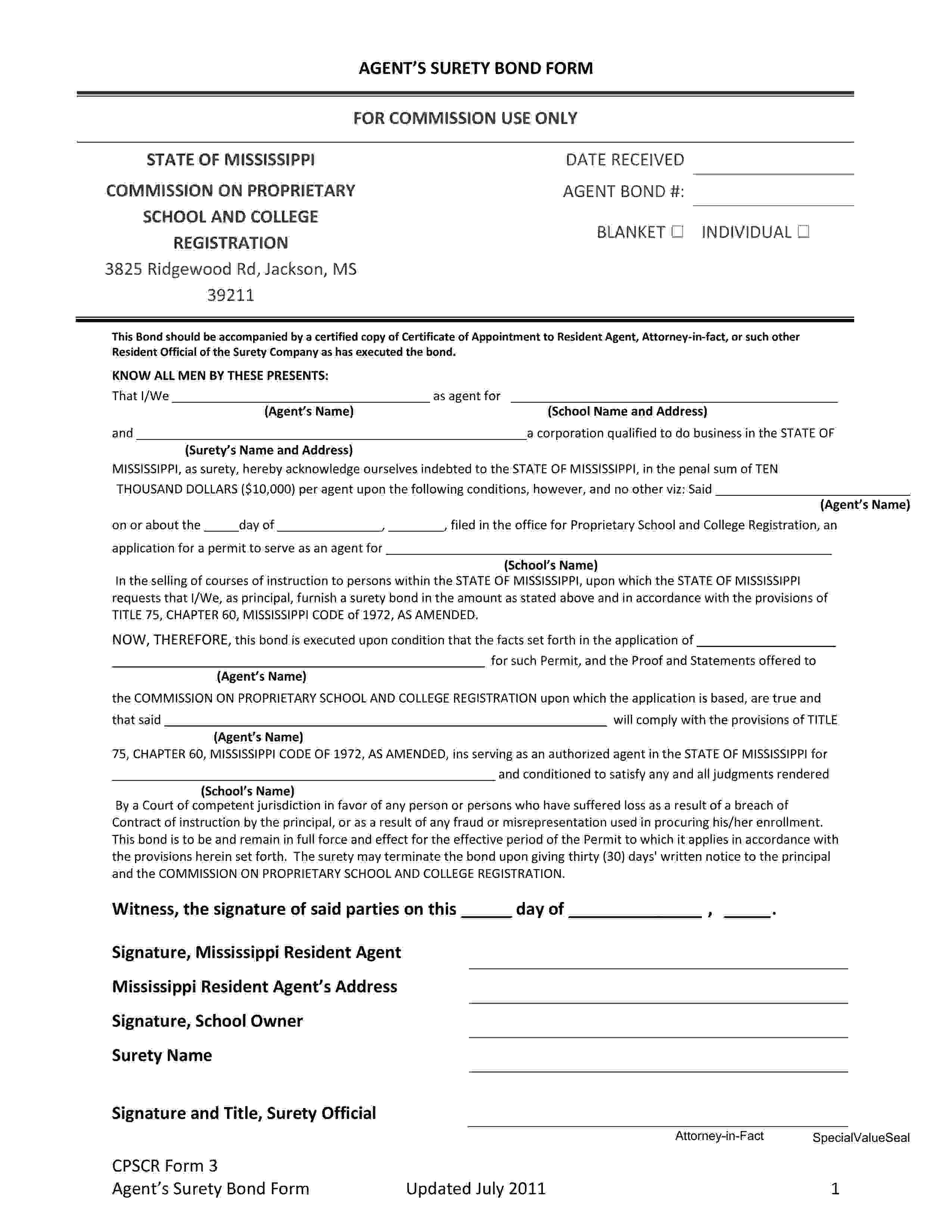 Mississippi Commission on Proprietary School and College Registration Proprietary School Agent - Individual Bond sample image