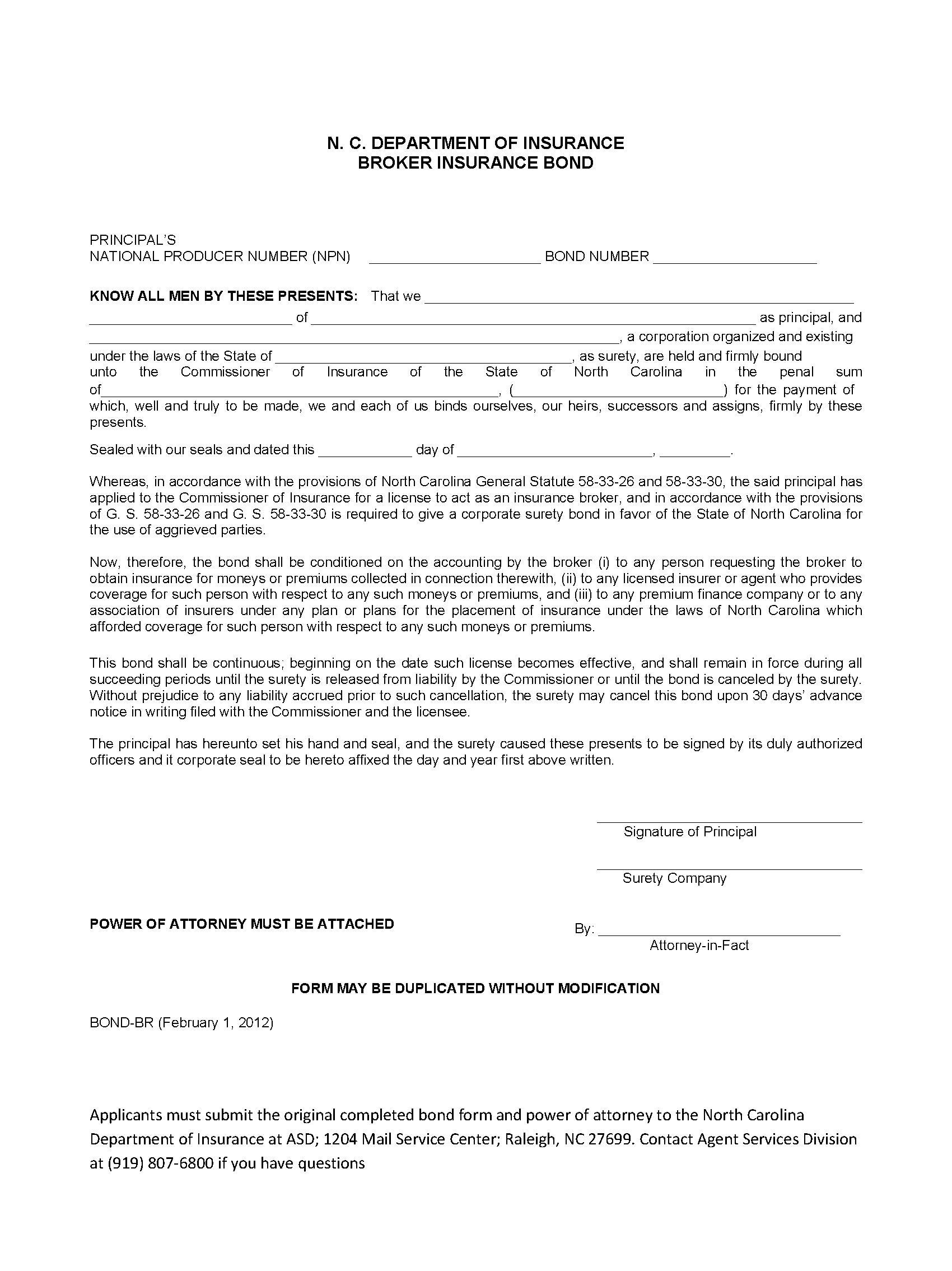 State of North Carolina Insurance Broker sample image