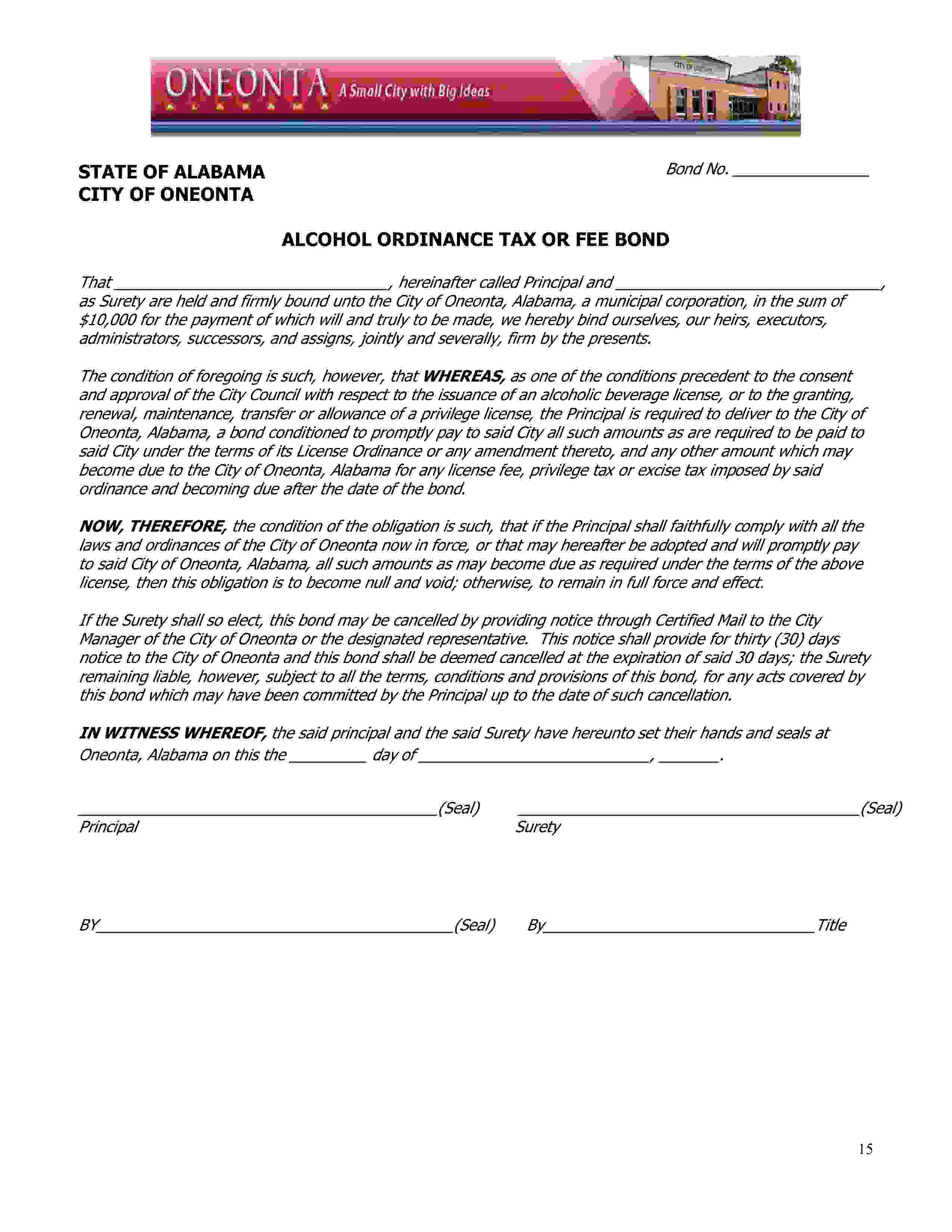 City of Oneonta Oneonta Alcohol Ordinance Tax or Fee sample image