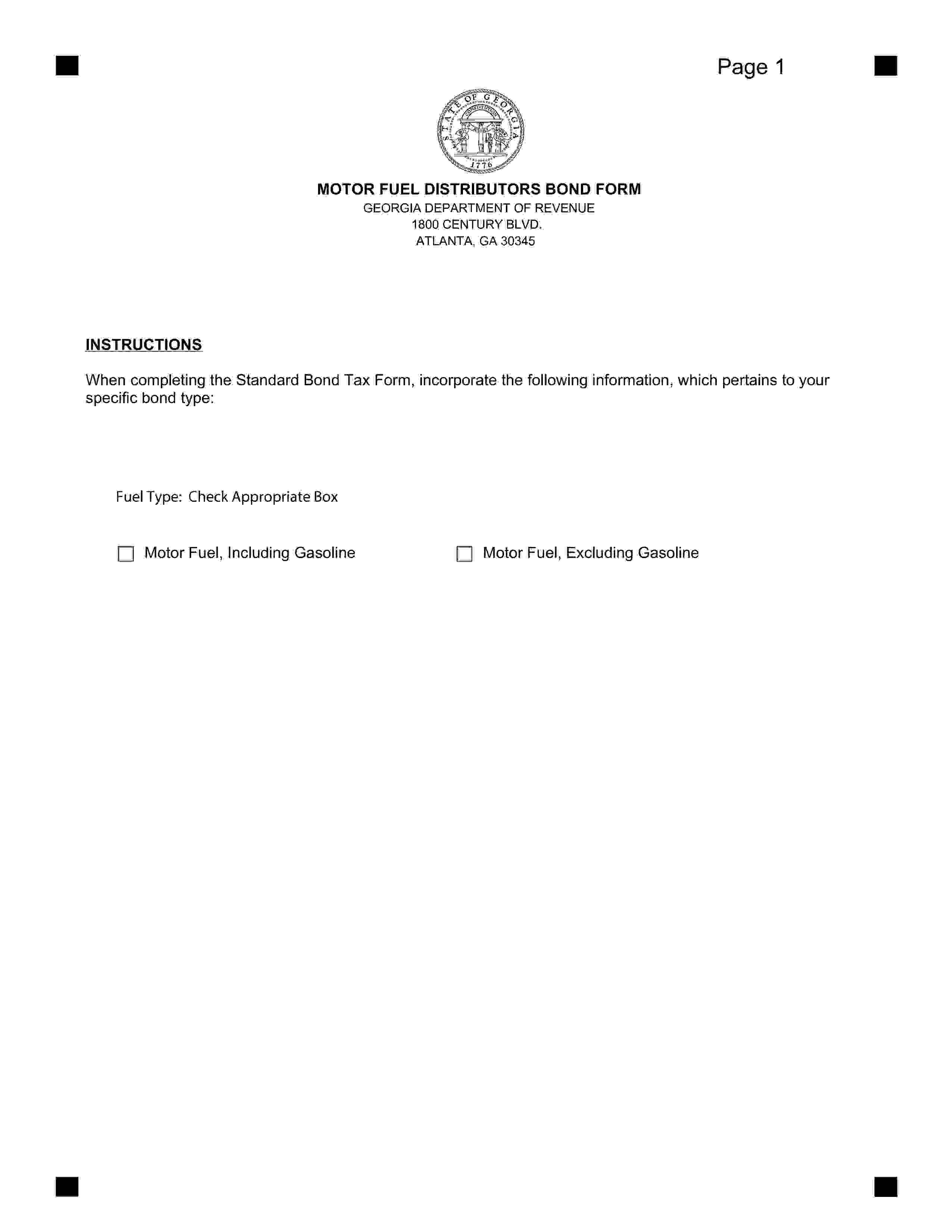 Georgia Department of Revenue Motor Fuel Distributor Bond sample image