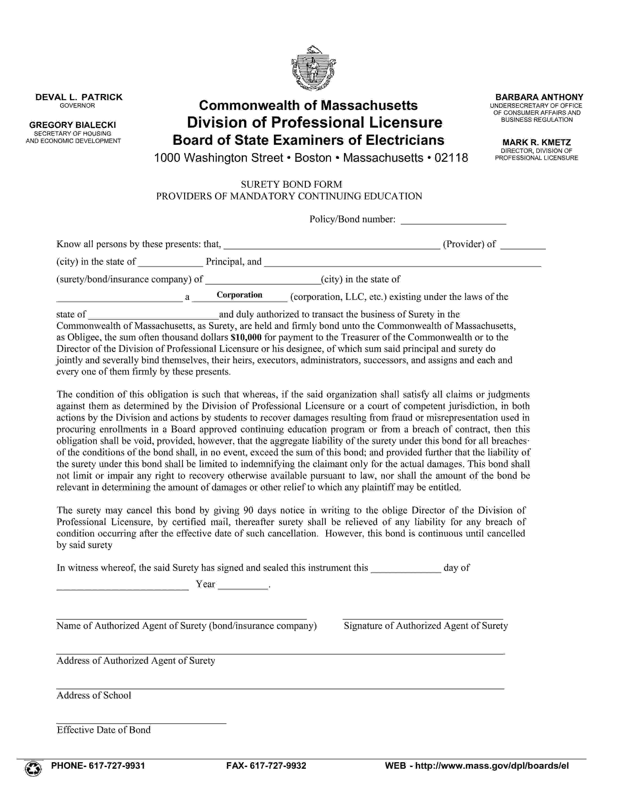 Massachusetts Division of Professional Licensure Private Continuing Education Provider Electricians Bond sample image
